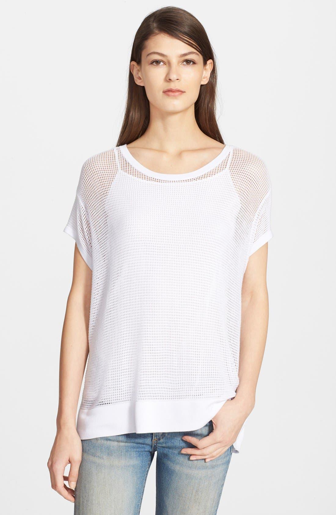 'Odette' Short Sleeve Mesh Tee,                         Main,                         color, White