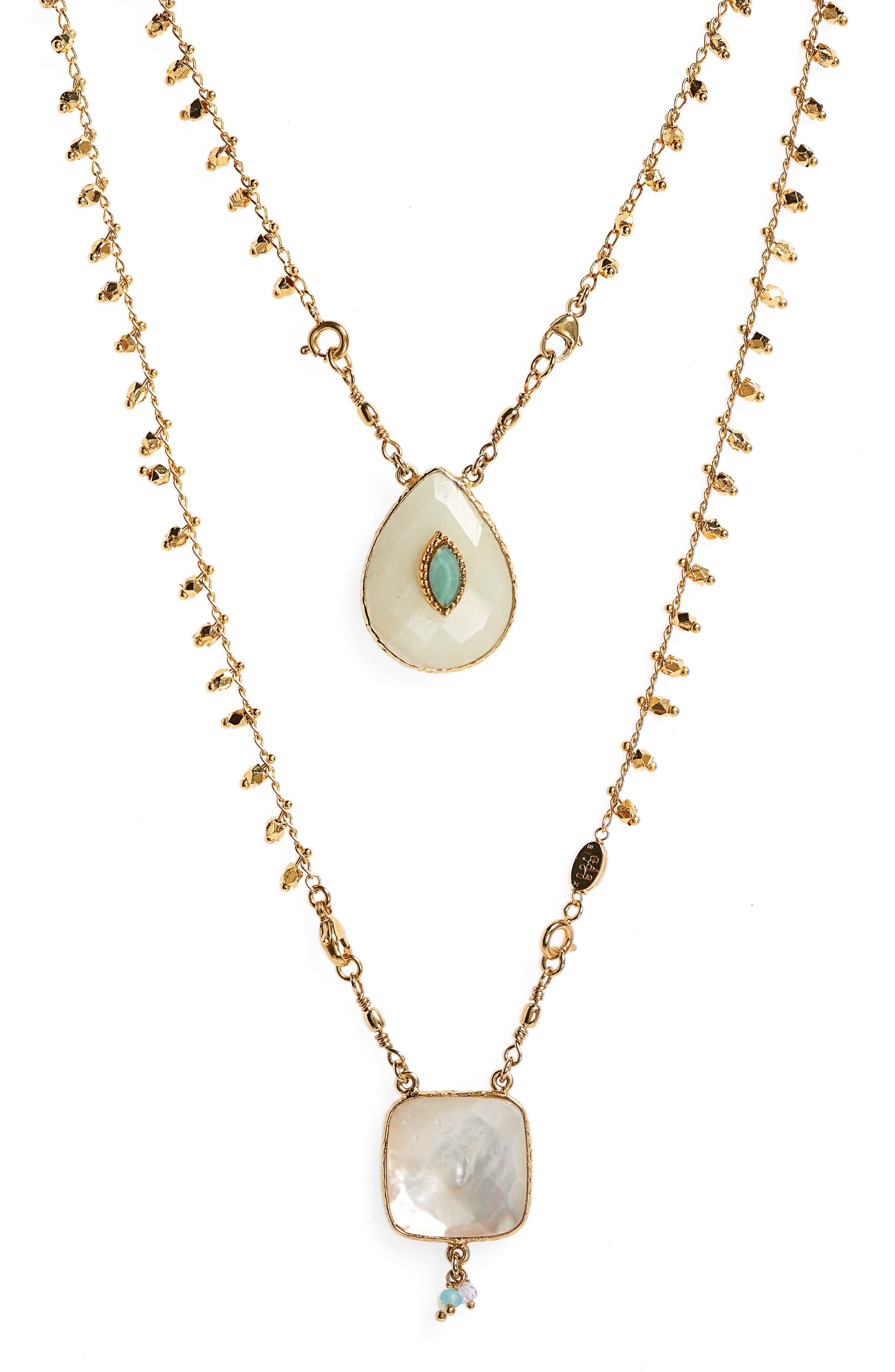 Scapulaire Convertible Semiprecious Stone Necklace,                         Main,                         color, White