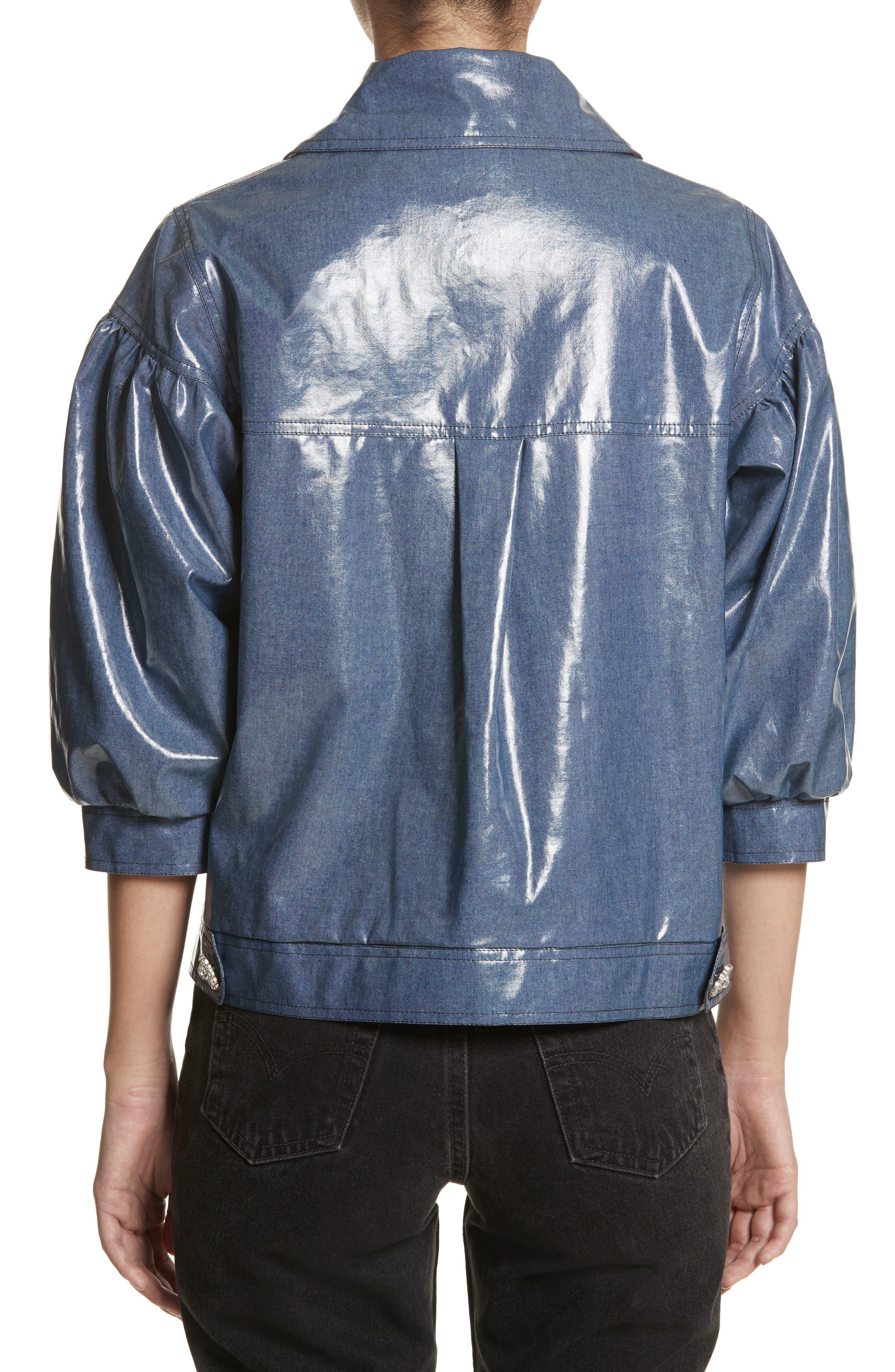 Luca Puff Sleeve Denim Jacket,                             Alternate thumbnail 2, color,                             Navy