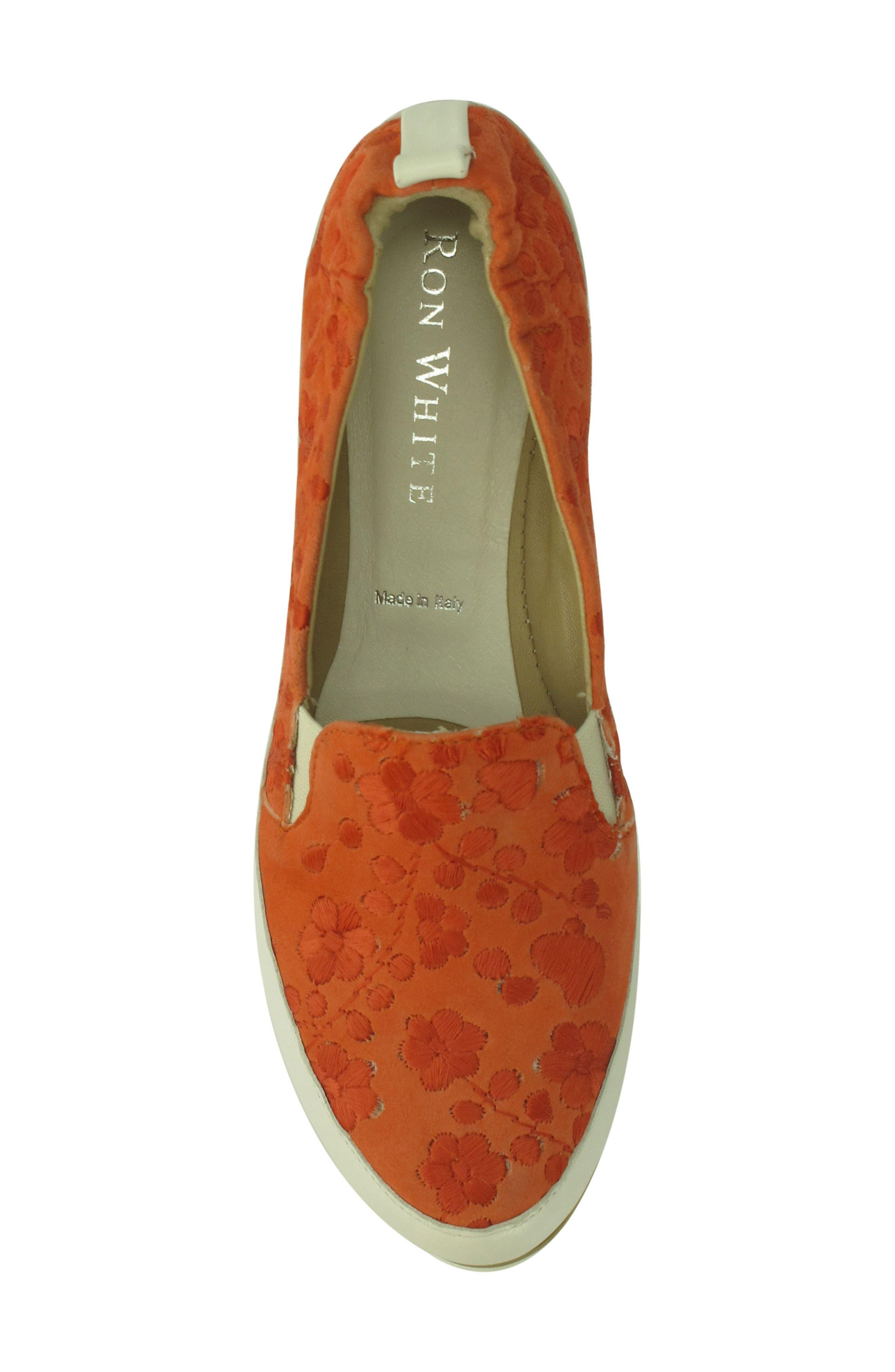 Nell Slip-On Sneaker,                             Alternate thumbnail 4, color,                             Tangerine Suede