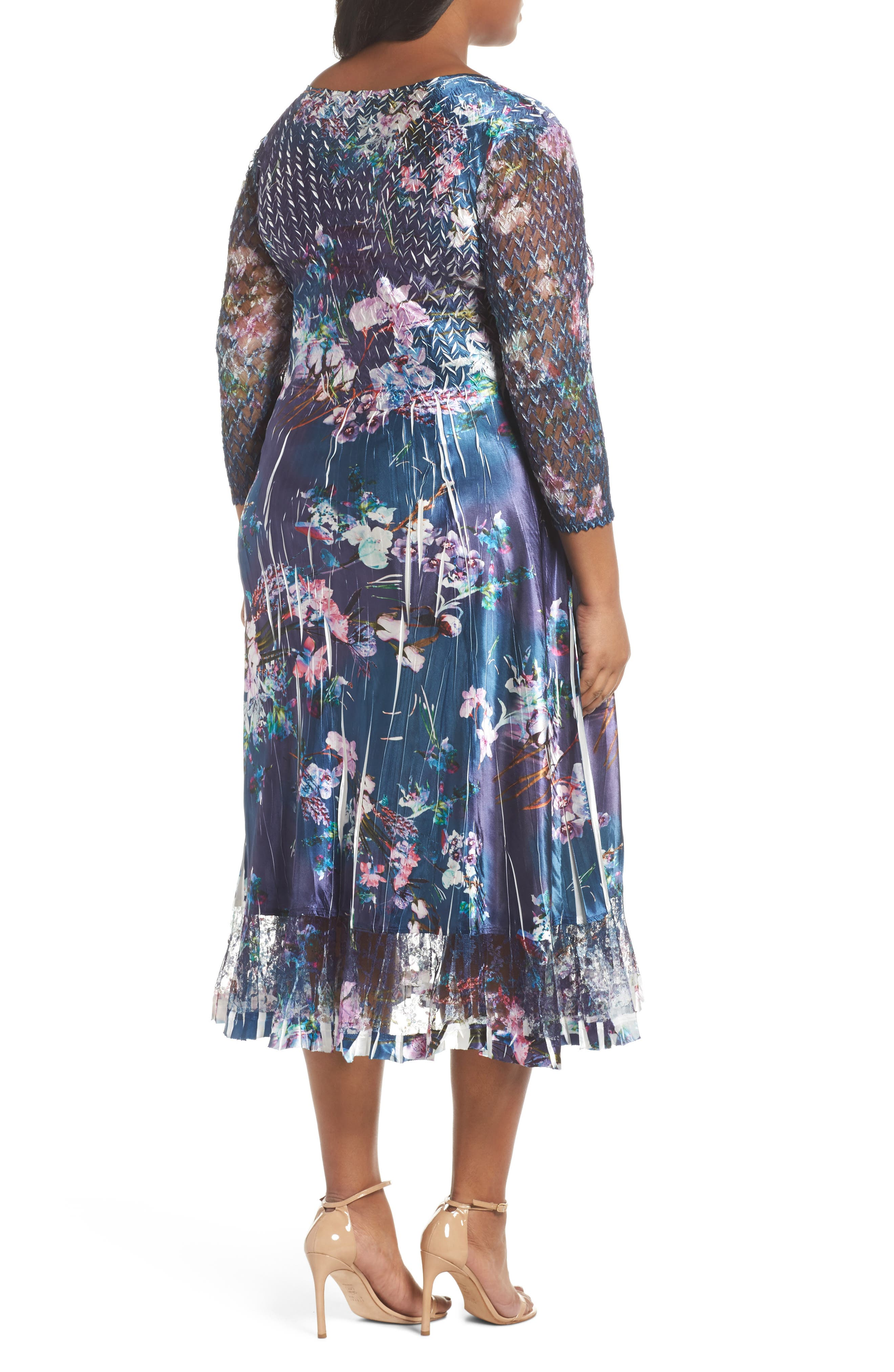 Kamarov Floral Charmeuse & Chiffon Dress,                             Alternate thumbnail 2, color,                             Pixel Meadow