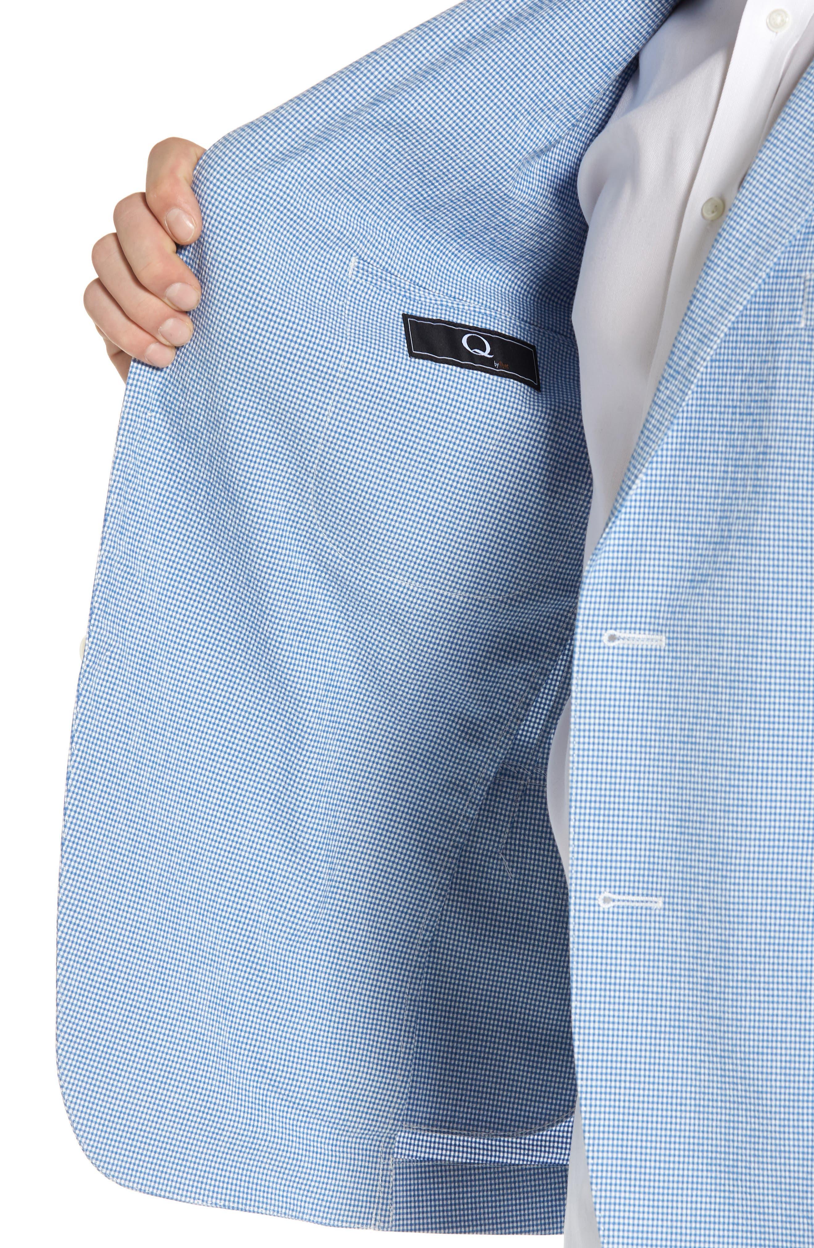 Slim Fit Microcheck Soft Sport Coat,                             Alternate thumbnail 4, color,                             Blue