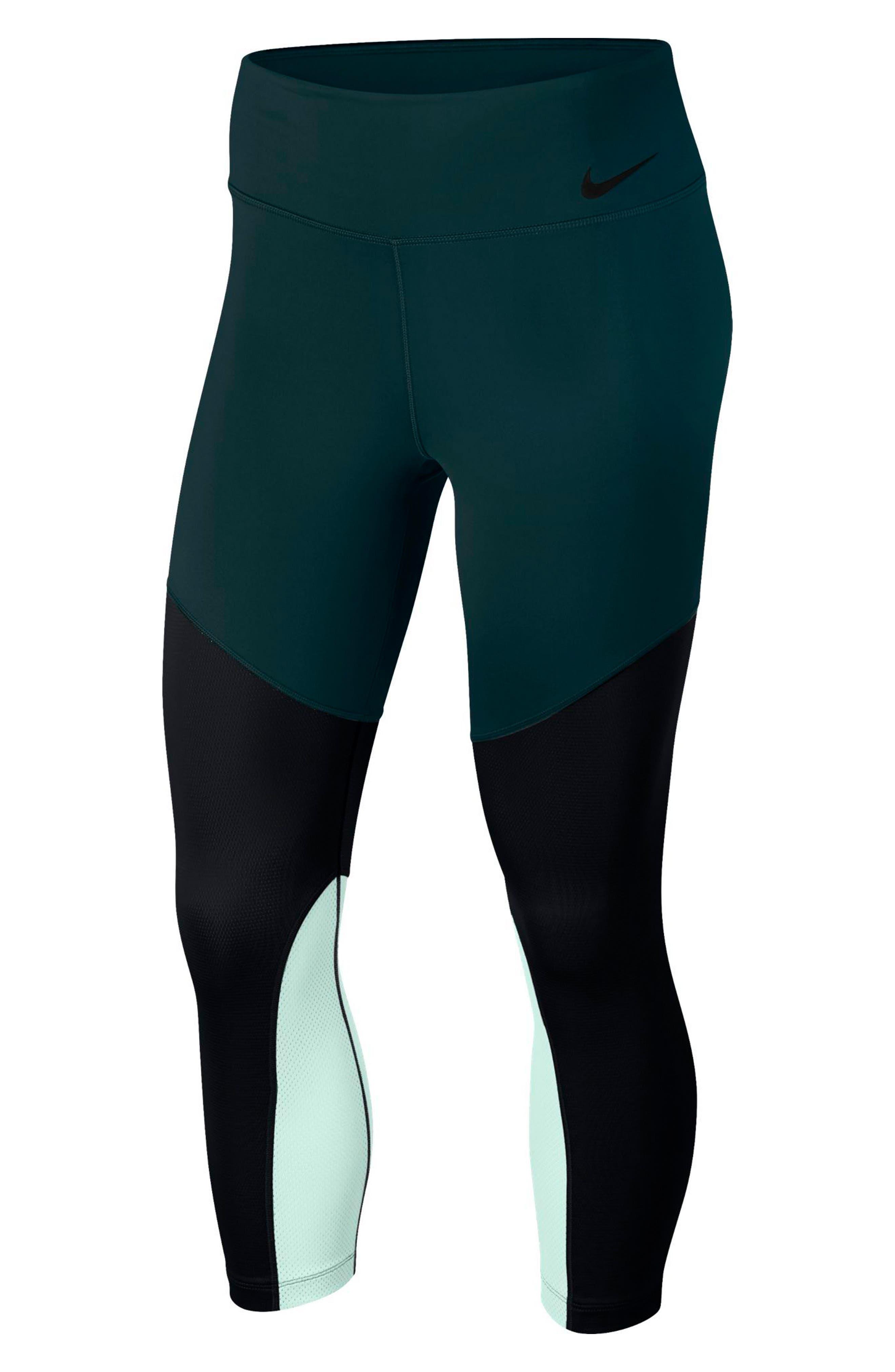 Power Mid-Rise Training Crop Leggings,                         Main,                         color, Deep Jungle/ Black/ Igloo