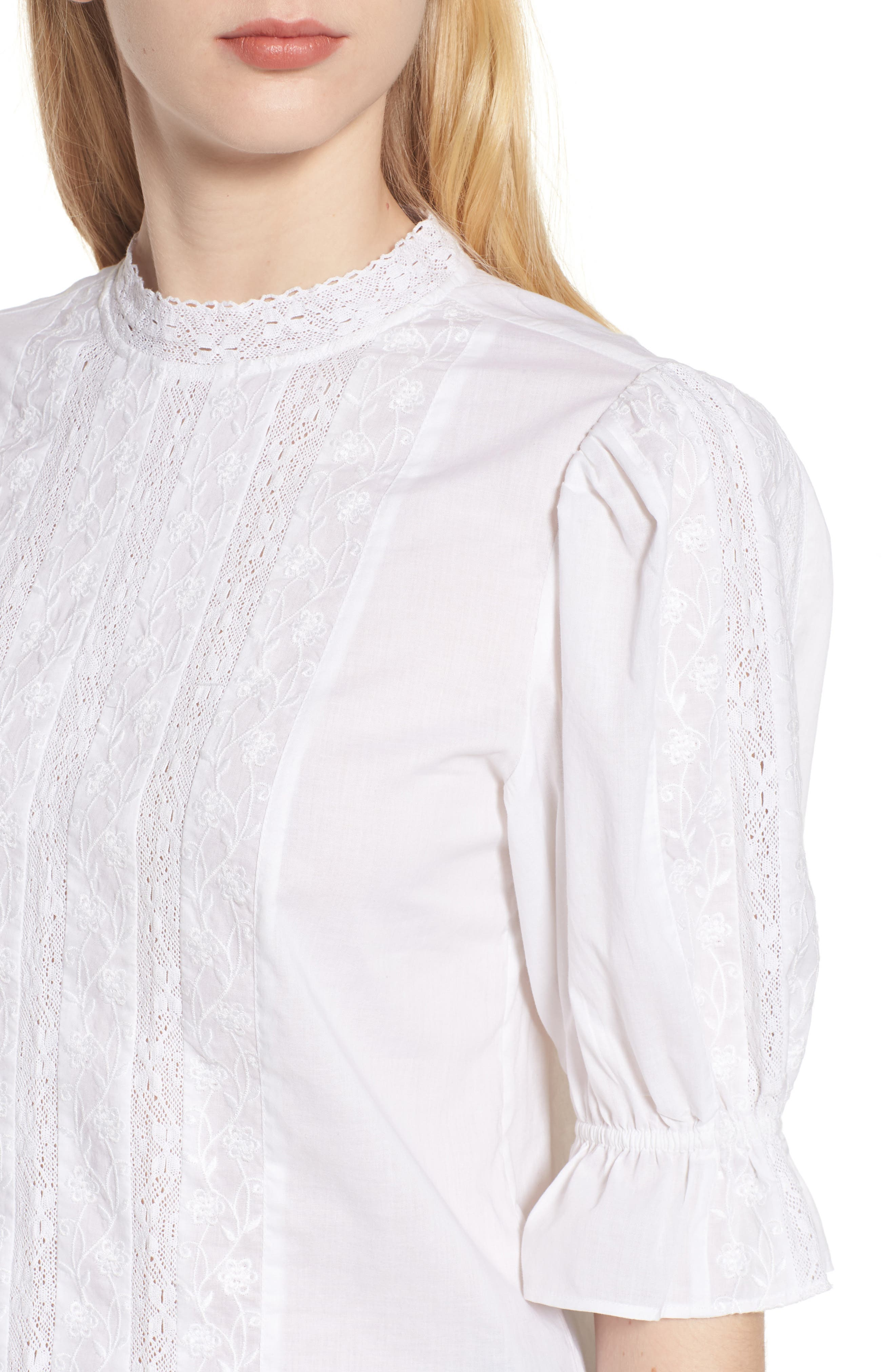Embroidered Lace Top,                             Alternate thumbnail 4, color,                             White