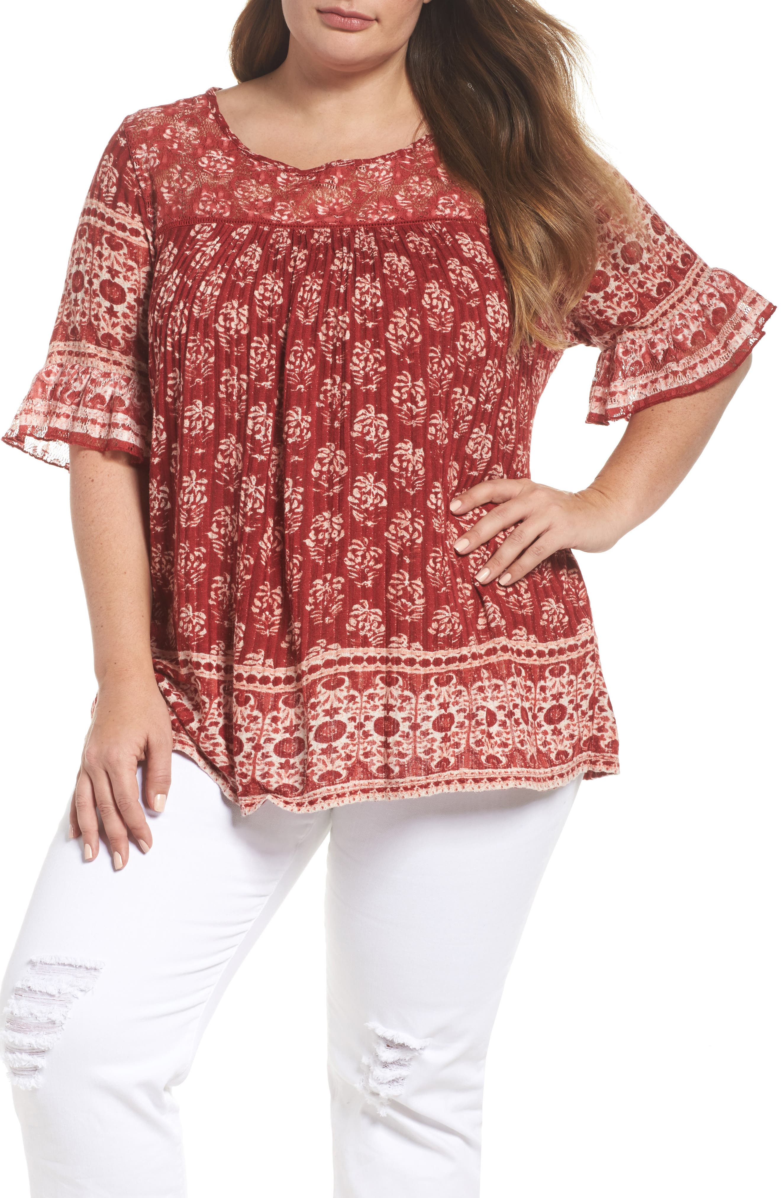 Alternate Image 1 Selected - Lucky Brand Print Top (Plus Size)