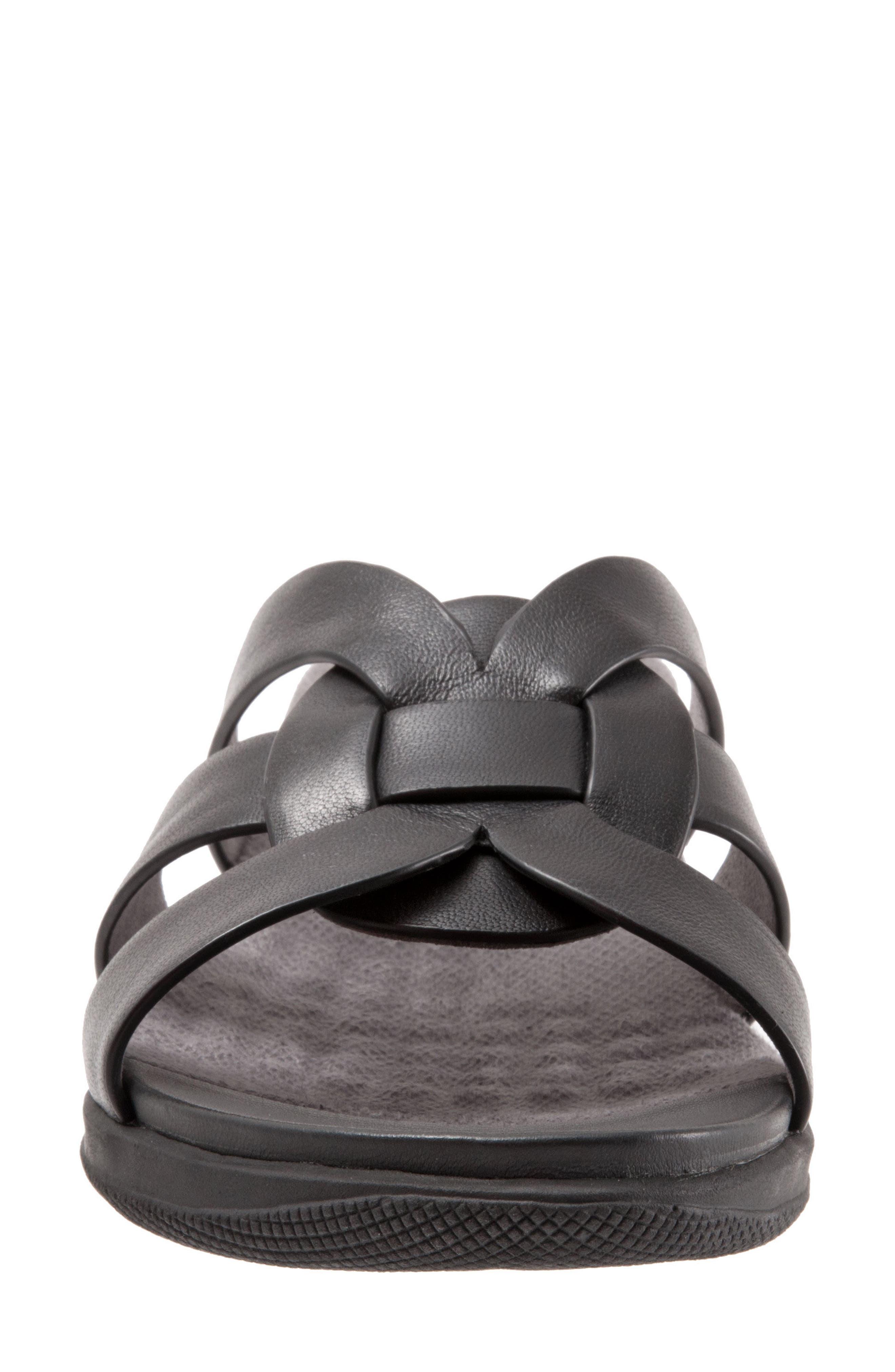 Thompson Slide Sandal,                             Alternate thumbnail 4, color,                             Black Leather