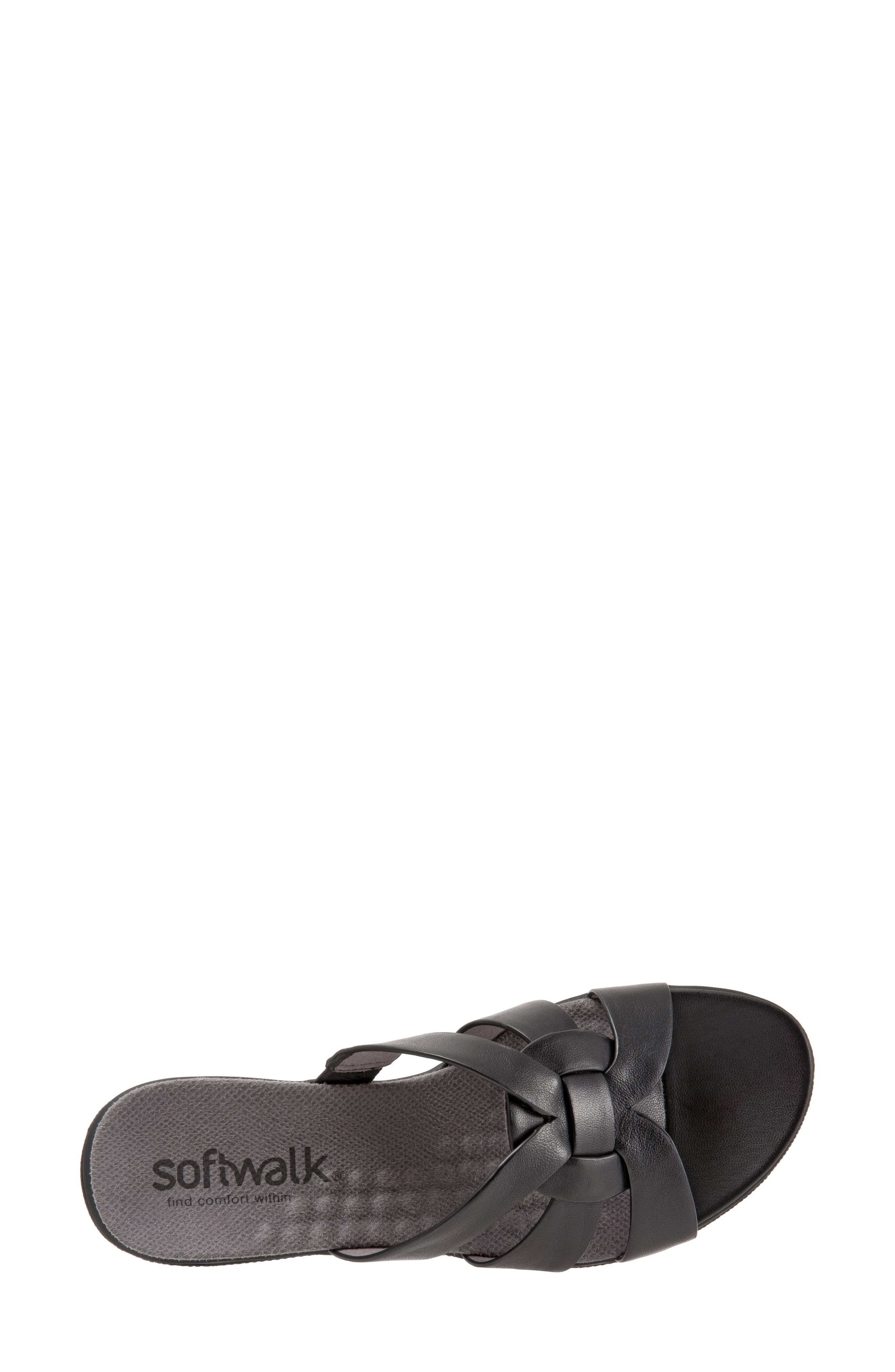 Thompson Slide Sandal,                             Alternate thumbnail 5, color,                             Black Leather