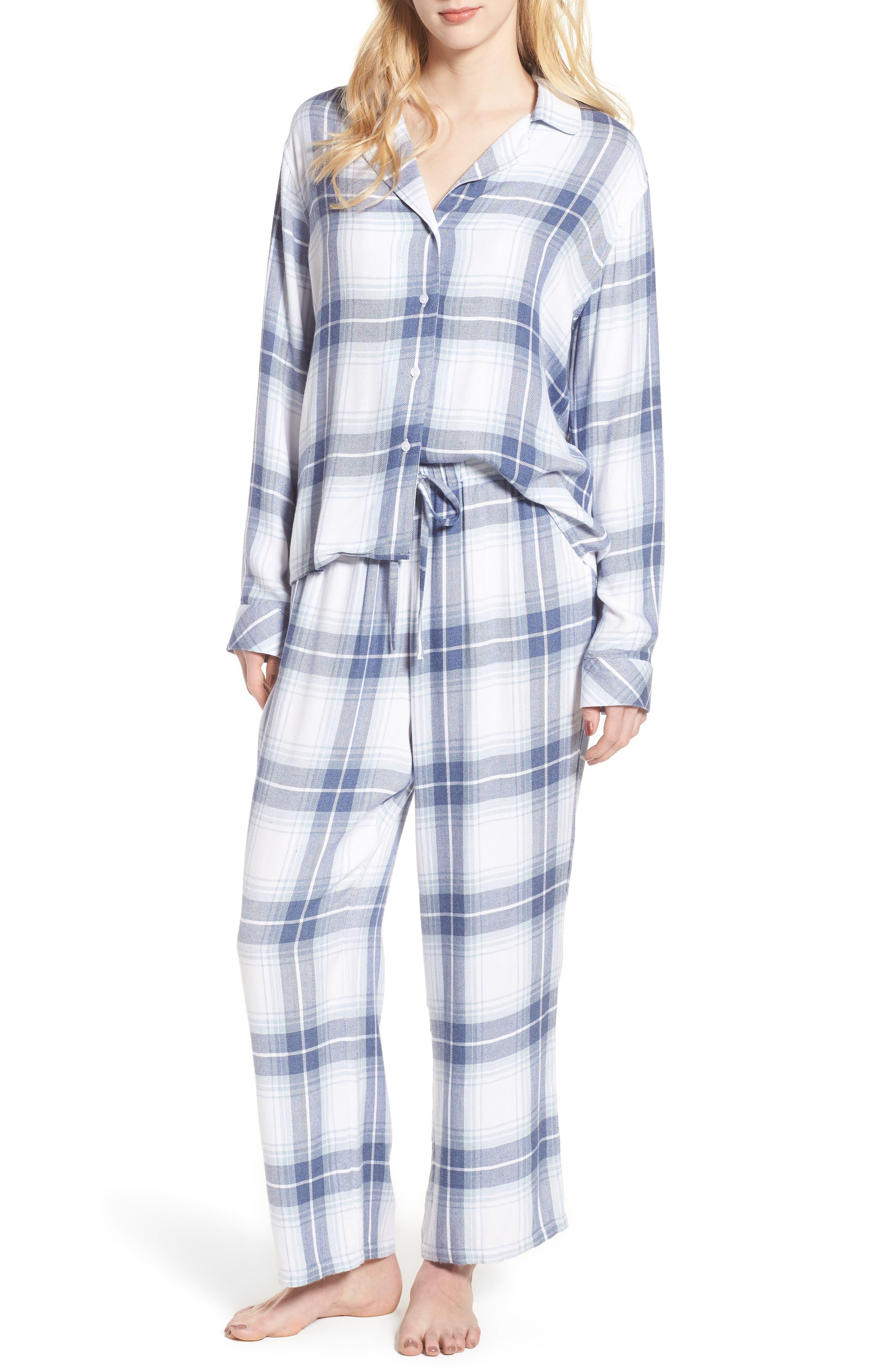 Plaid Pajamas,                             Main thumbnail 1, color,                             Pacific Sky White