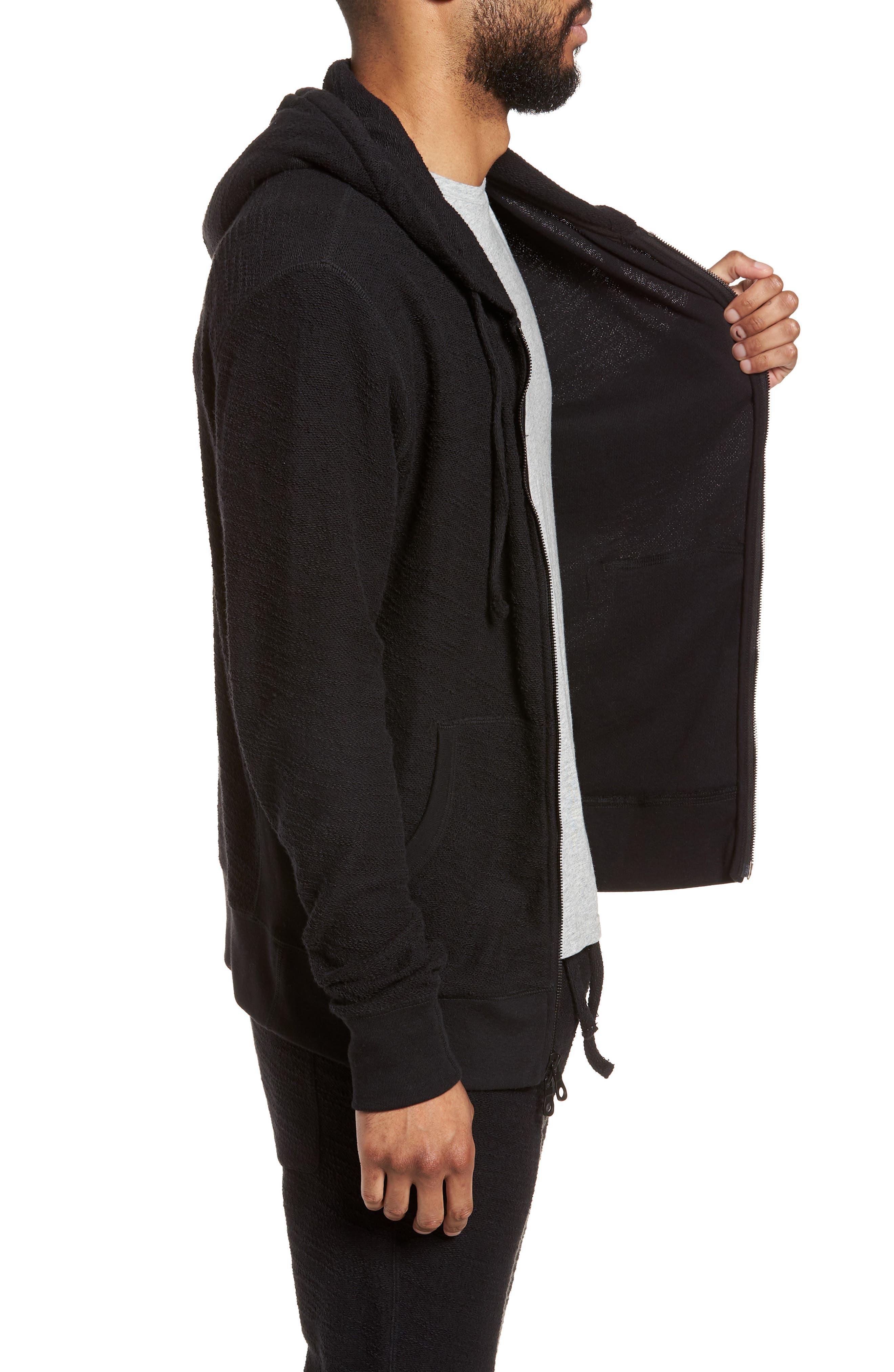 Terrycloth Cotton Blend Zip Hoodie,                             Alternate thumbnail 3, color,                             Black