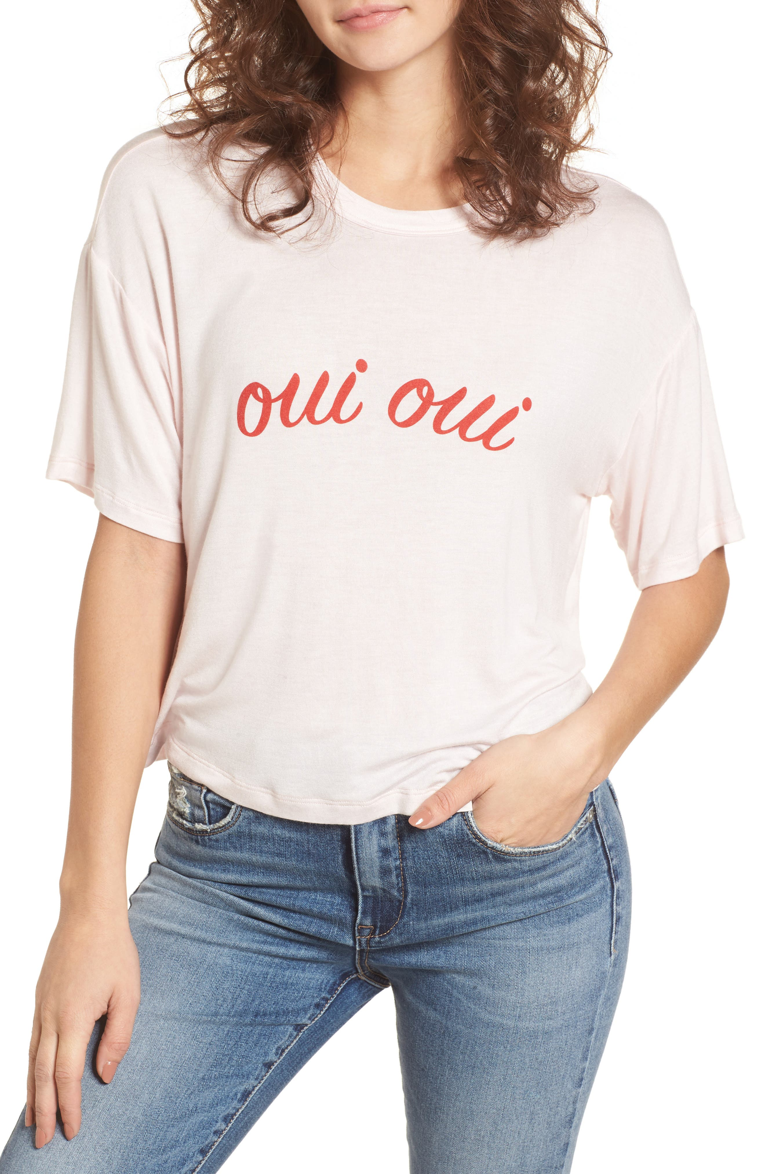 Oui Oui Graphic Tee,                         Main,                         color, Light Pink