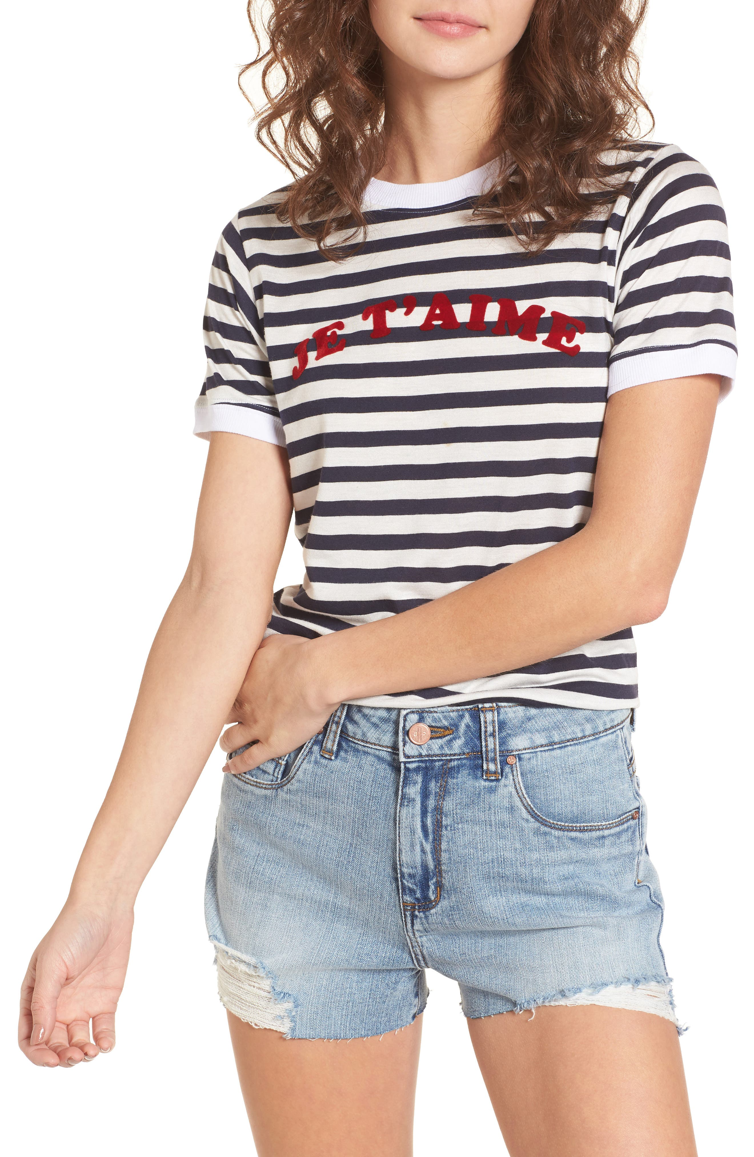 Je T'aime Stripe Ringer Tee,                         Main,                         color, White Stripe