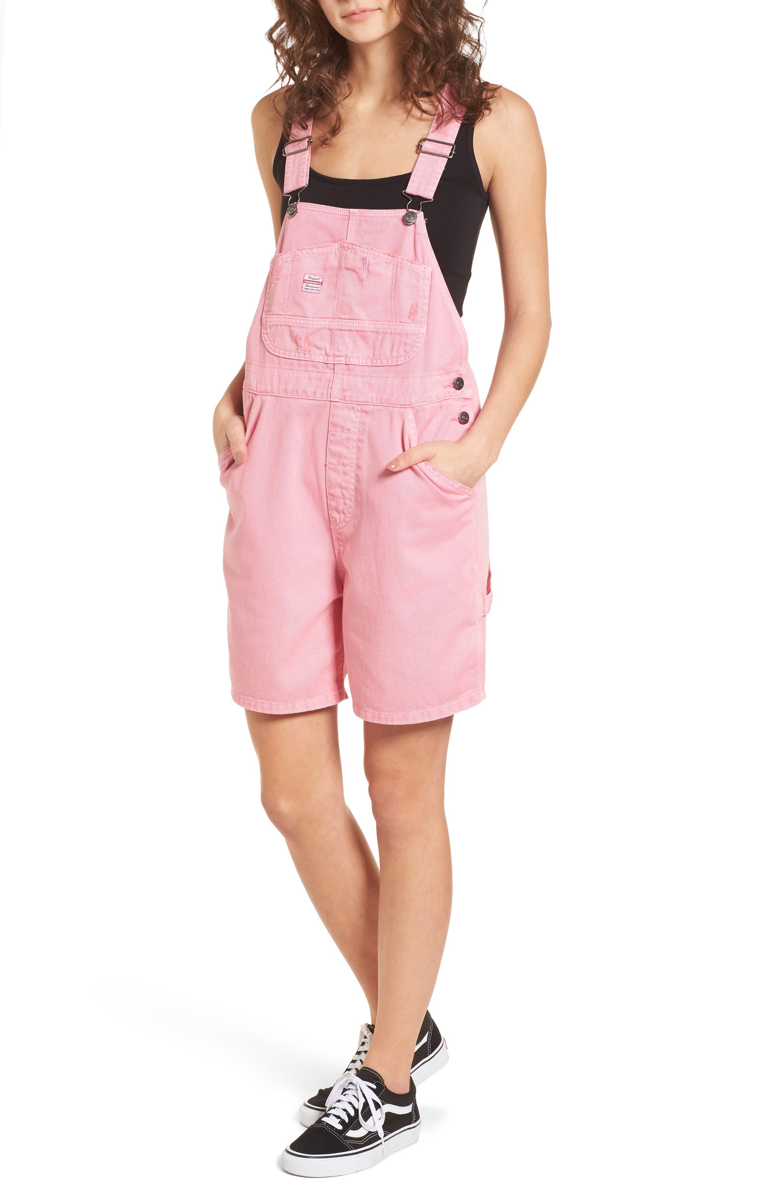 Unionbay Mario Denim Shortalls,                             Main thumbnail 1, color,                             Popsicle Pink