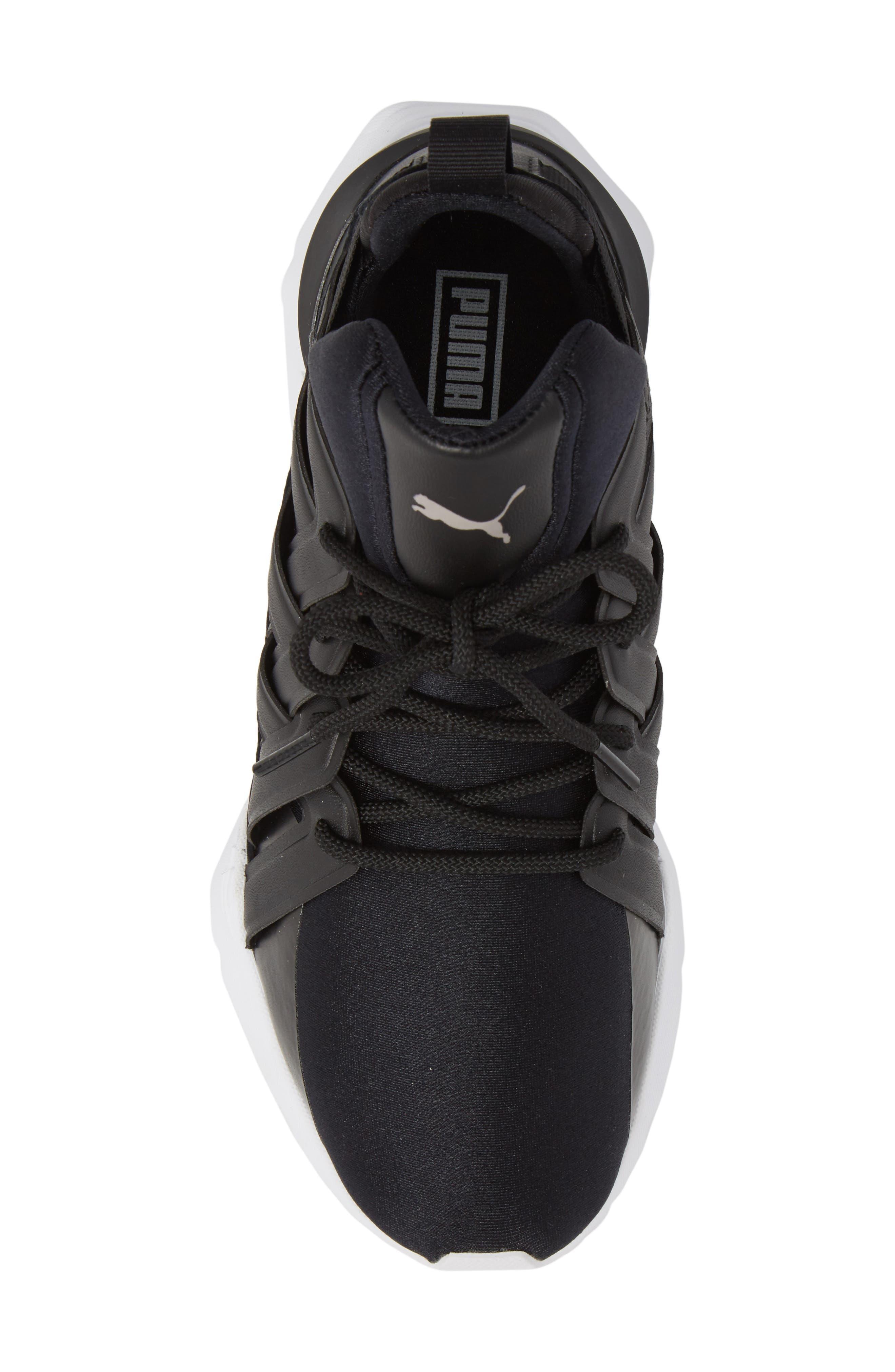 Muse Echo Satin En Pointe High Top Sneaker,                             Alternate thumbnail 5, color,                             Puma Black/ Puma White