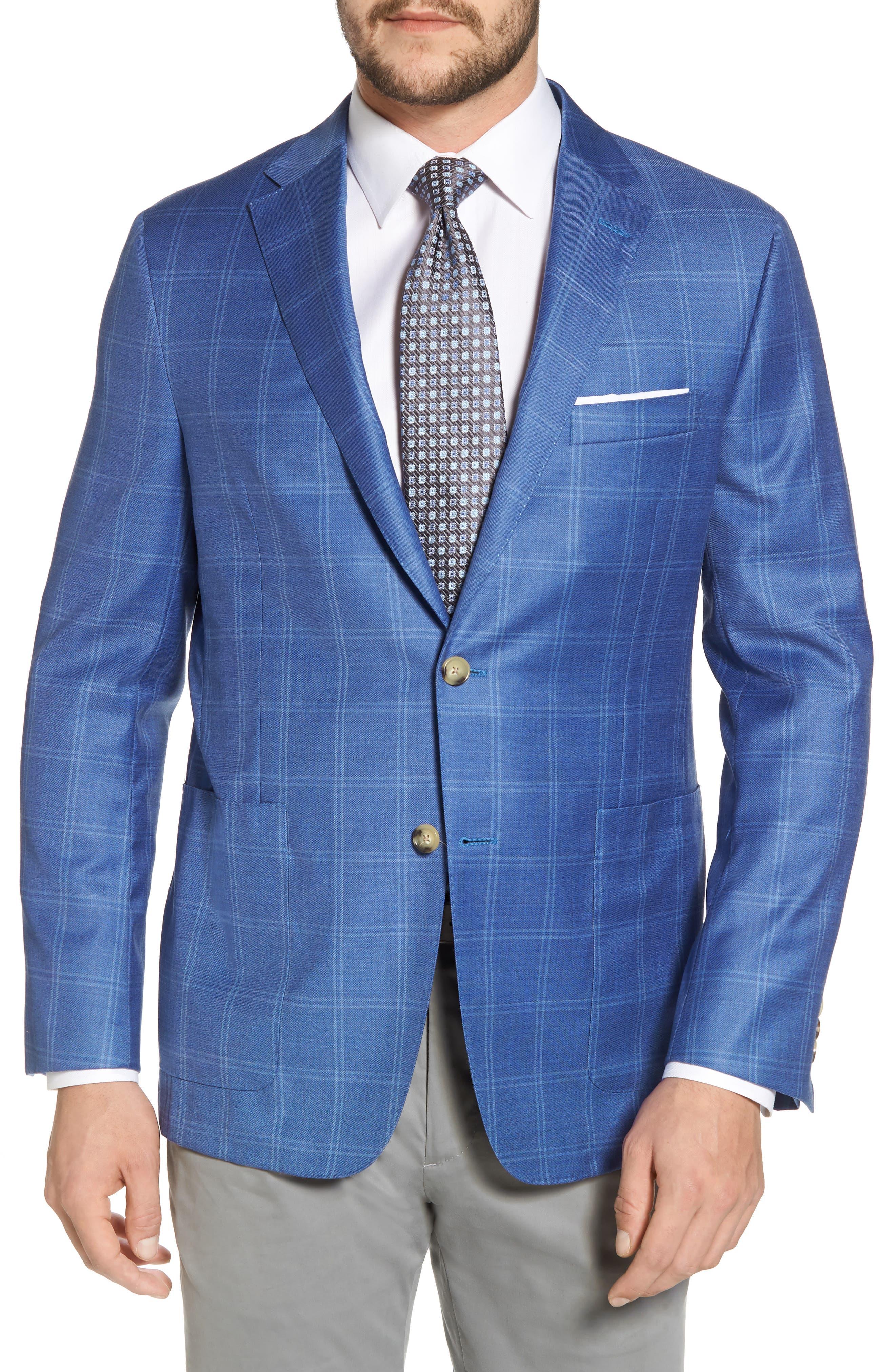 Global Guardian Classic B Fit Windowpane Wool Sport Coat,                         Main,                         color, Light Blue