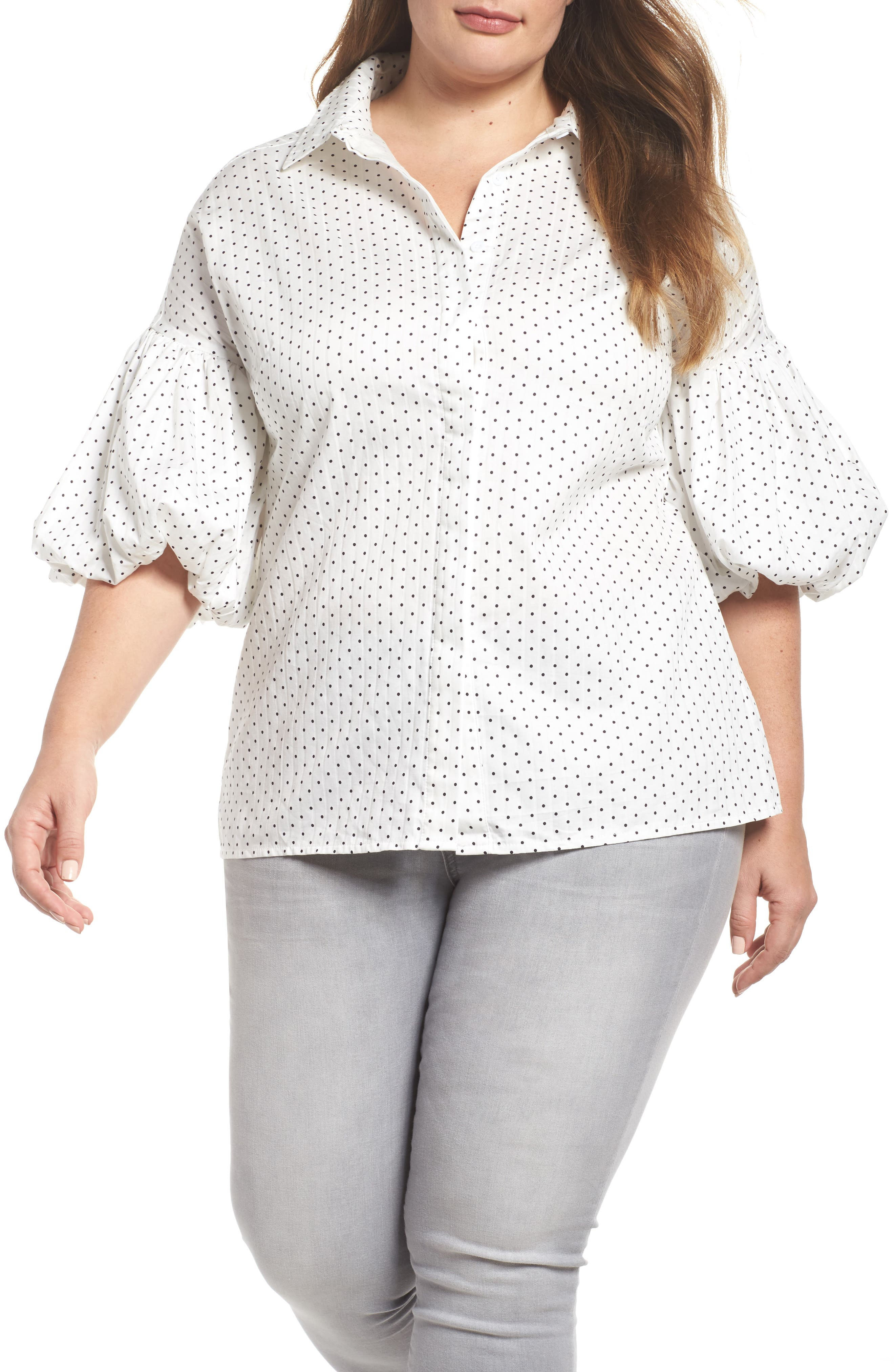 ELVI Pinna Puffball Sleeve Shirt (Regular & Plus Size)