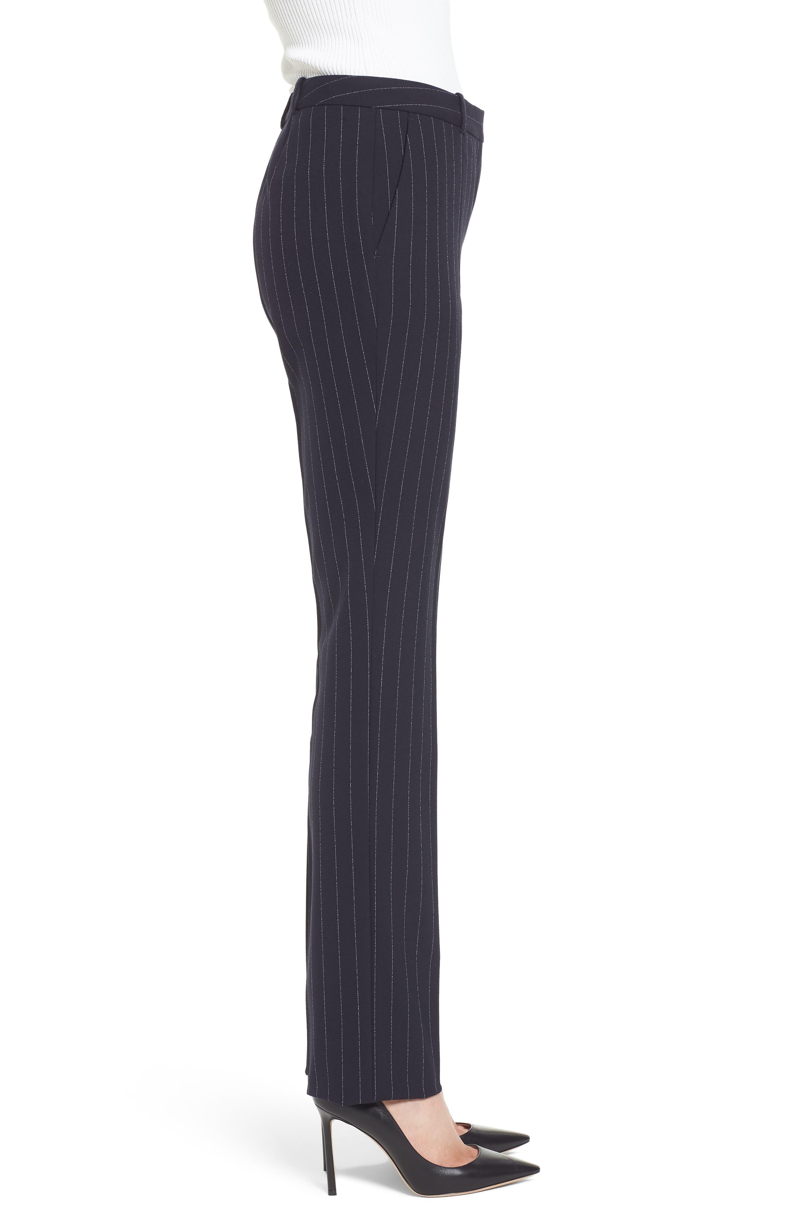 Titana Pinstripe Suit Trousers,                             Alternate thumbnail 4, color,                             Navy Fantasy