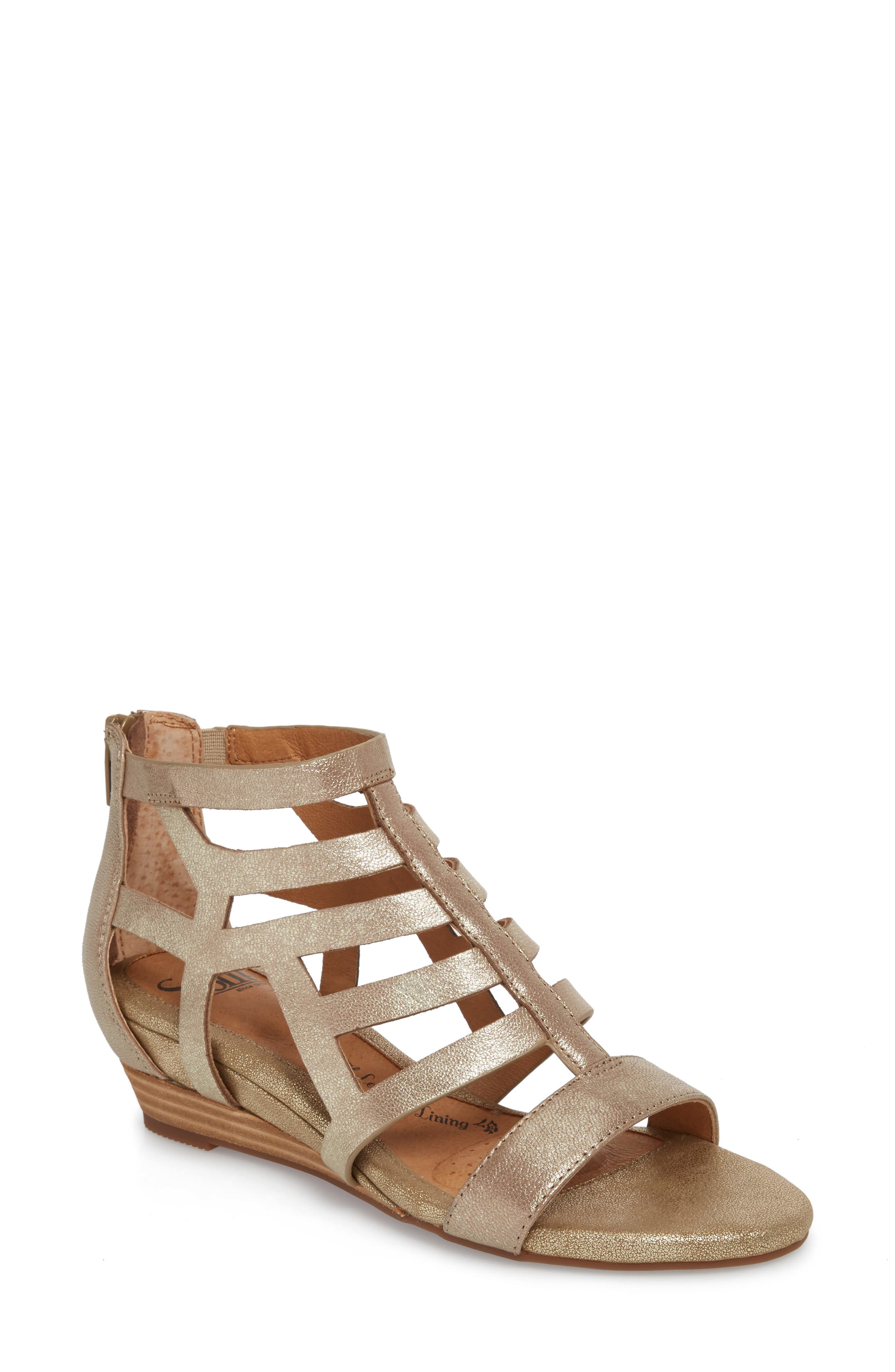 Ravello Wedge Sandal,                         Main,                         color, Satin Gold Leather