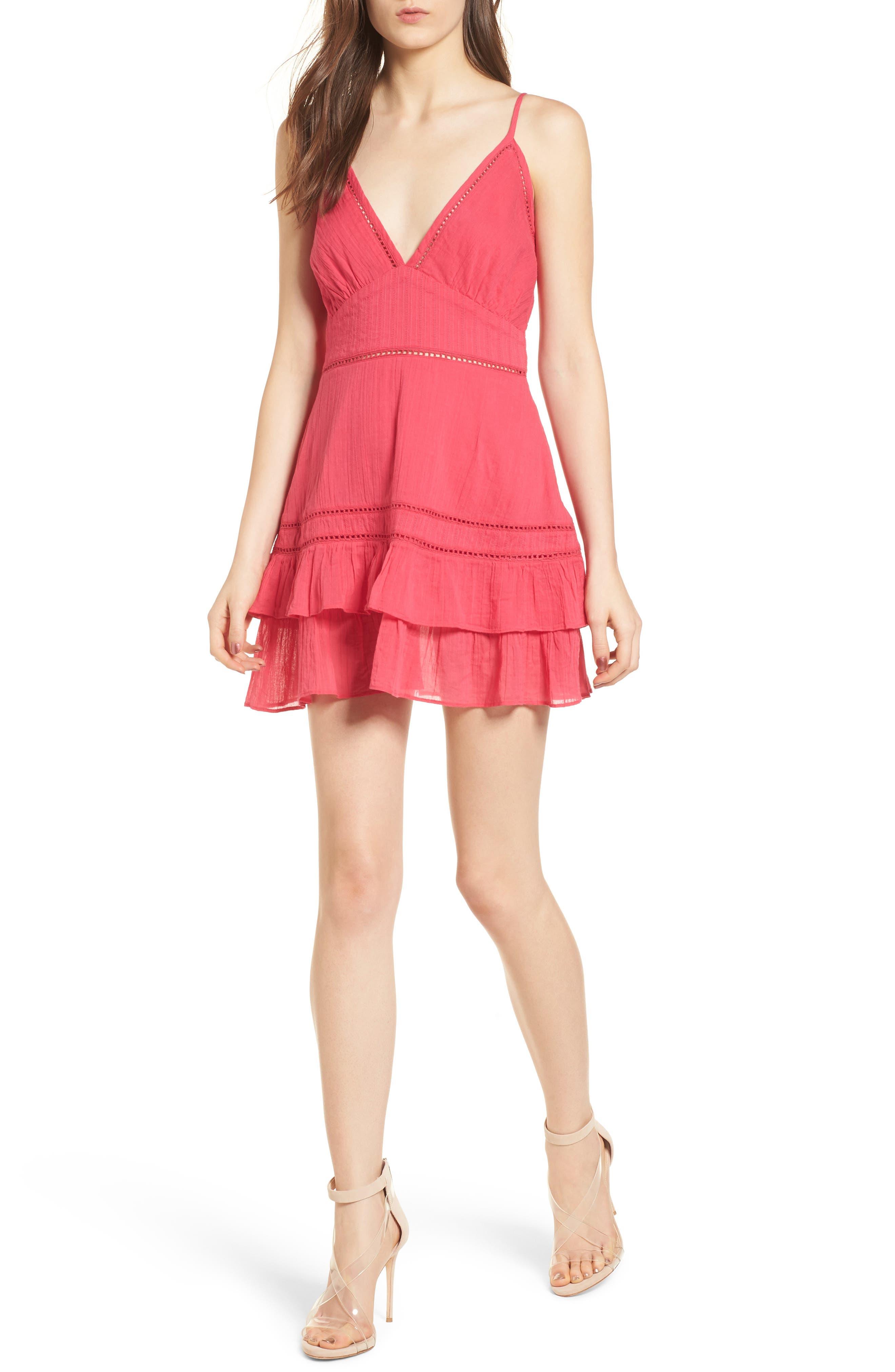 Casey Ruffle Minidress,                         Main,                         color, Fuchsia