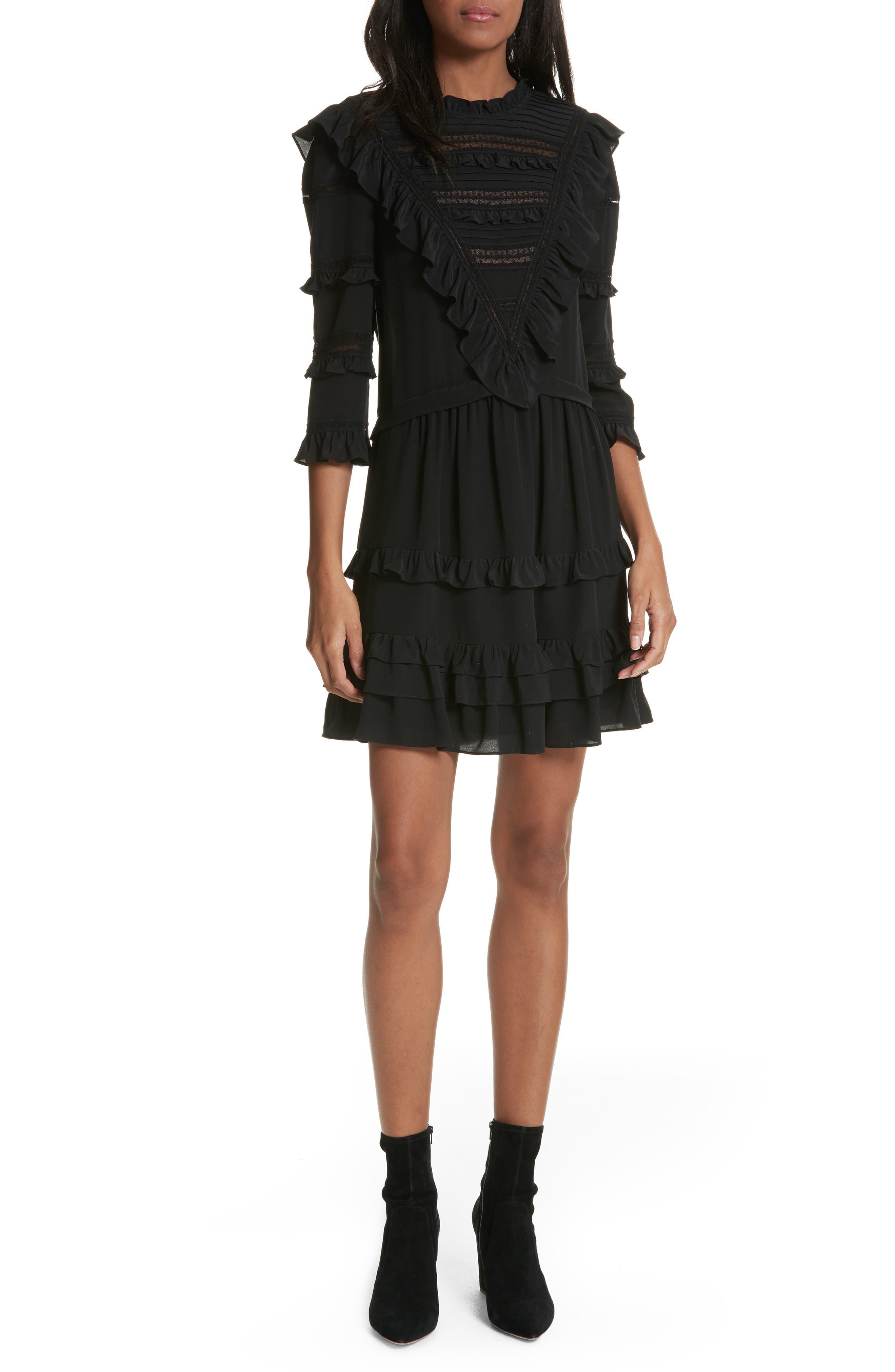 Ruffle Silk Dress,                         Main,                         color, Black
