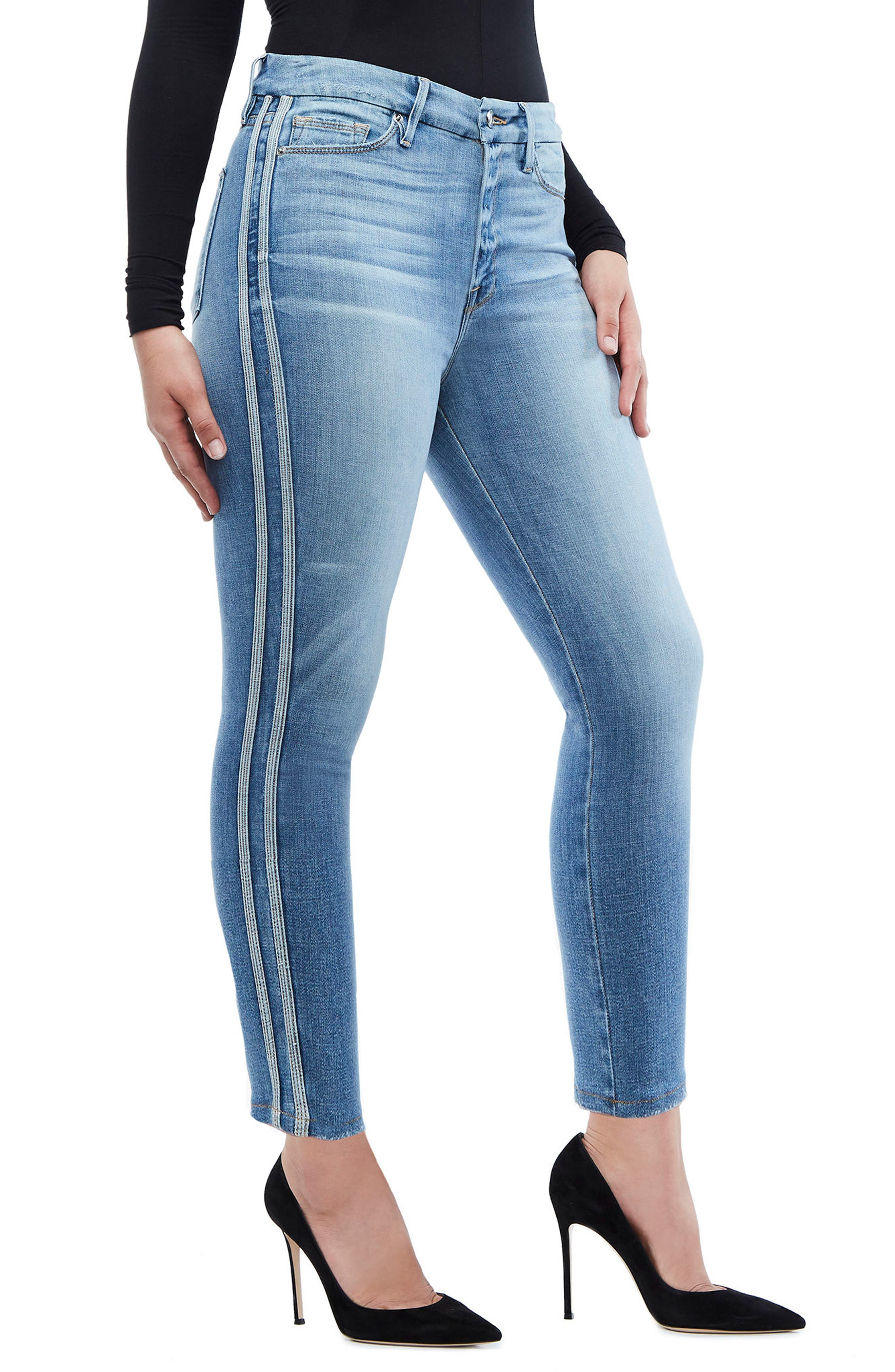 Good American Good Waist Athletic Stripe High Waist Ankle Straight Leg Jeans (Blue 121) (Regular & Plus Size)