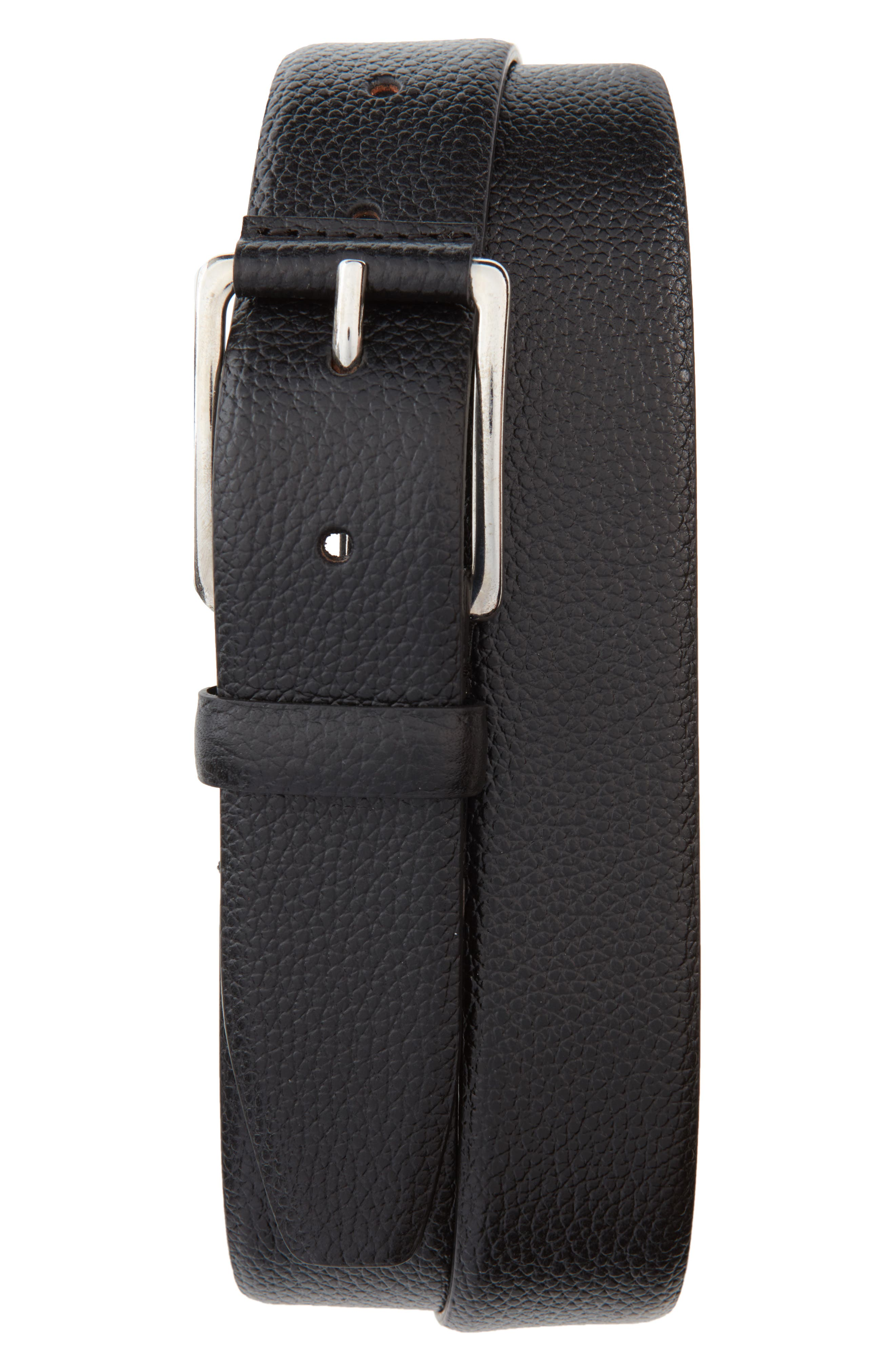 Old Lake Road Leather Belt,                             Main thumbnail 1, color,                             Nero
