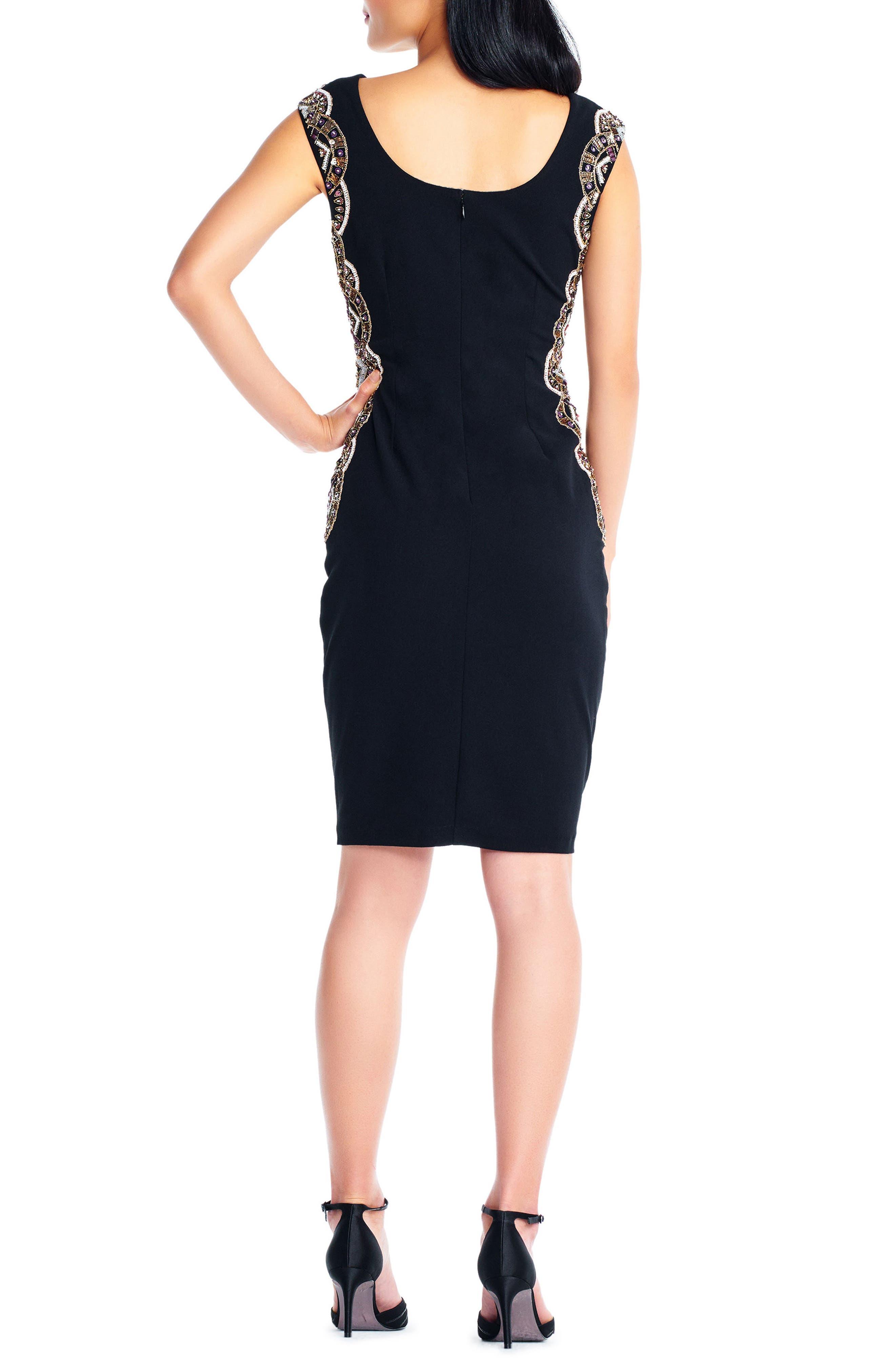 Beaded Crepe Sheath Dress,                             Alternate thumbnail 2, color,                             Black