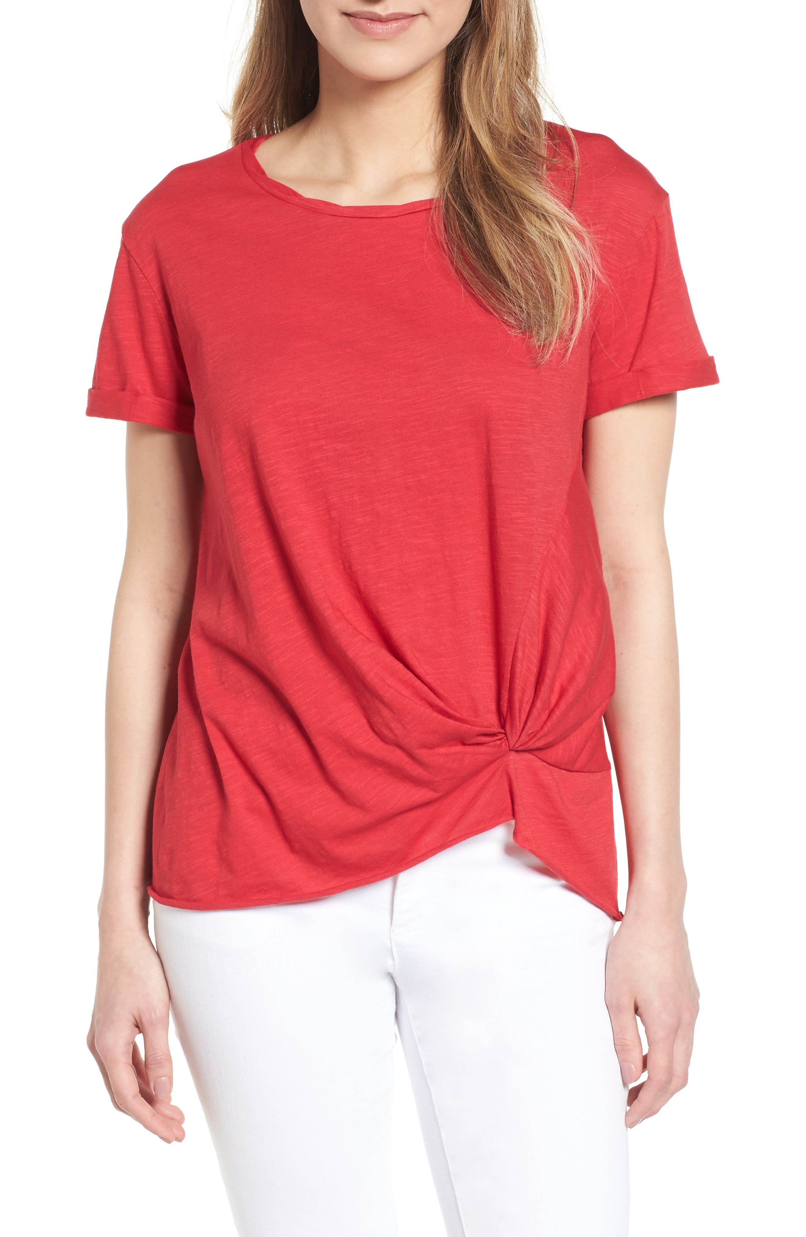 Knotted Tee,                             Main thumbnail 1, color,                             Red Jalapeno