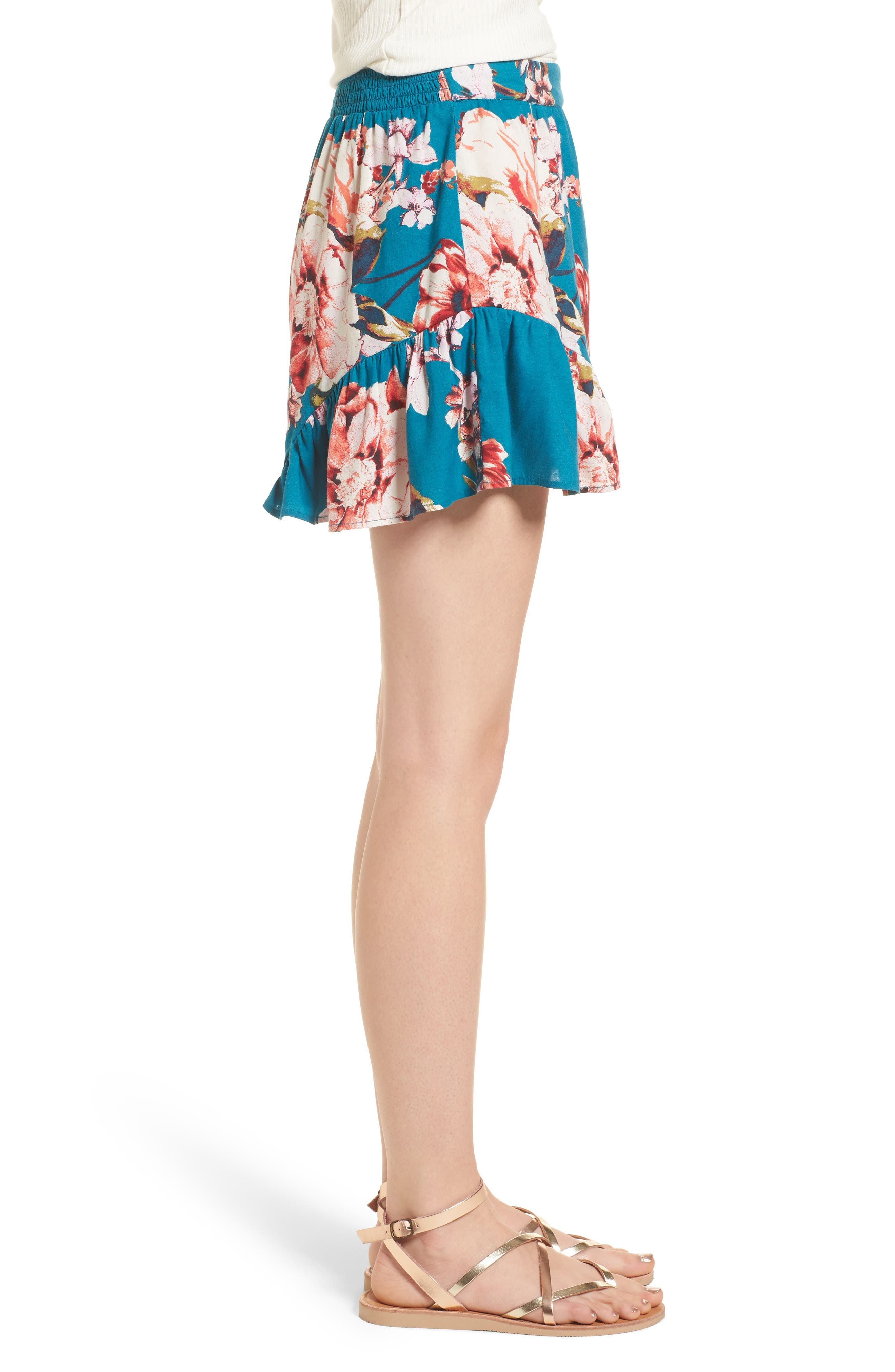 Floral Print Ruffle Hem Shorts,                             Alternate thumbnail 4, color,                             Teal/ Peach