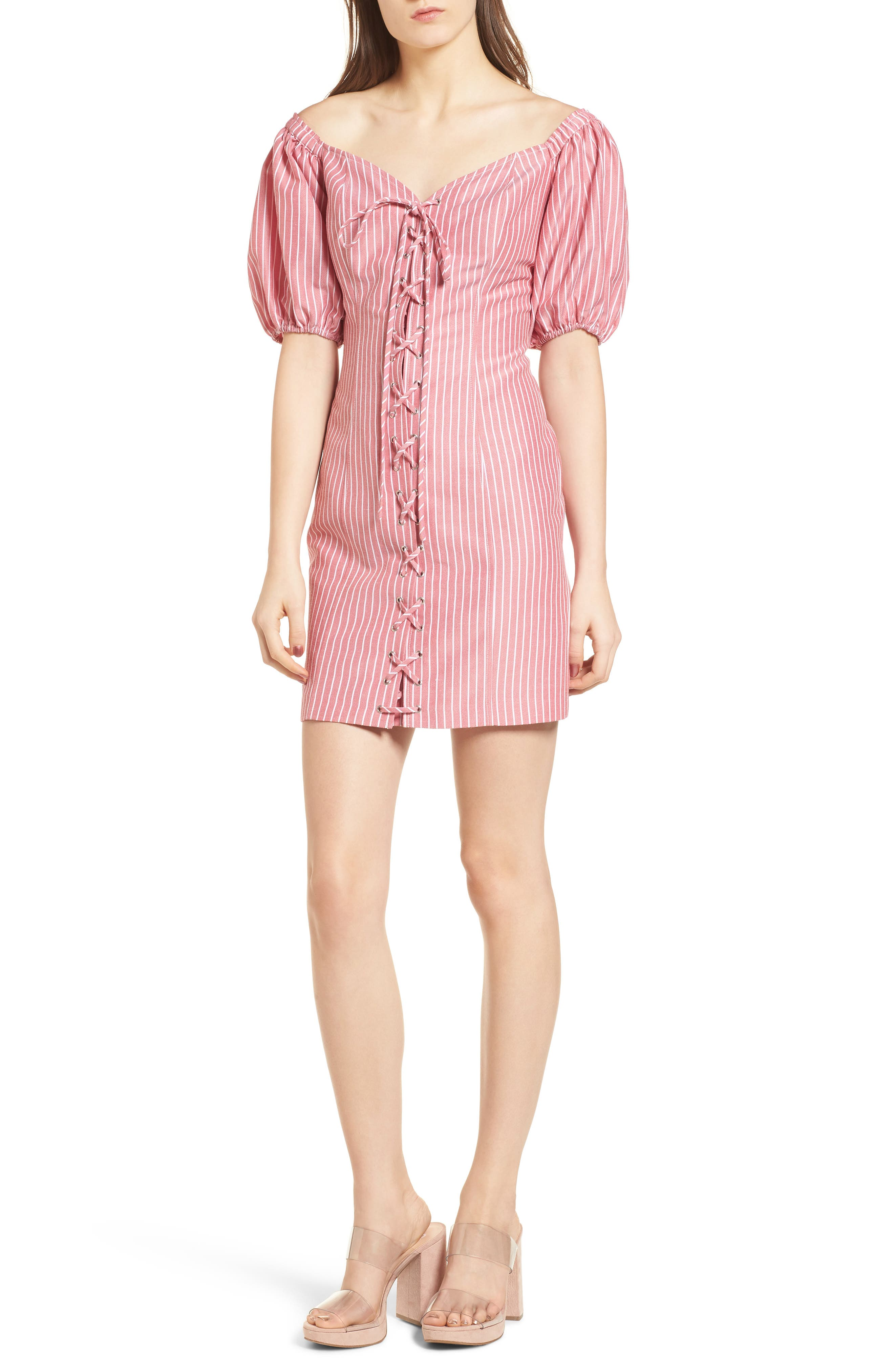 Frankie Lace-Up Minidress,                         Main,                         color, Red Stripe