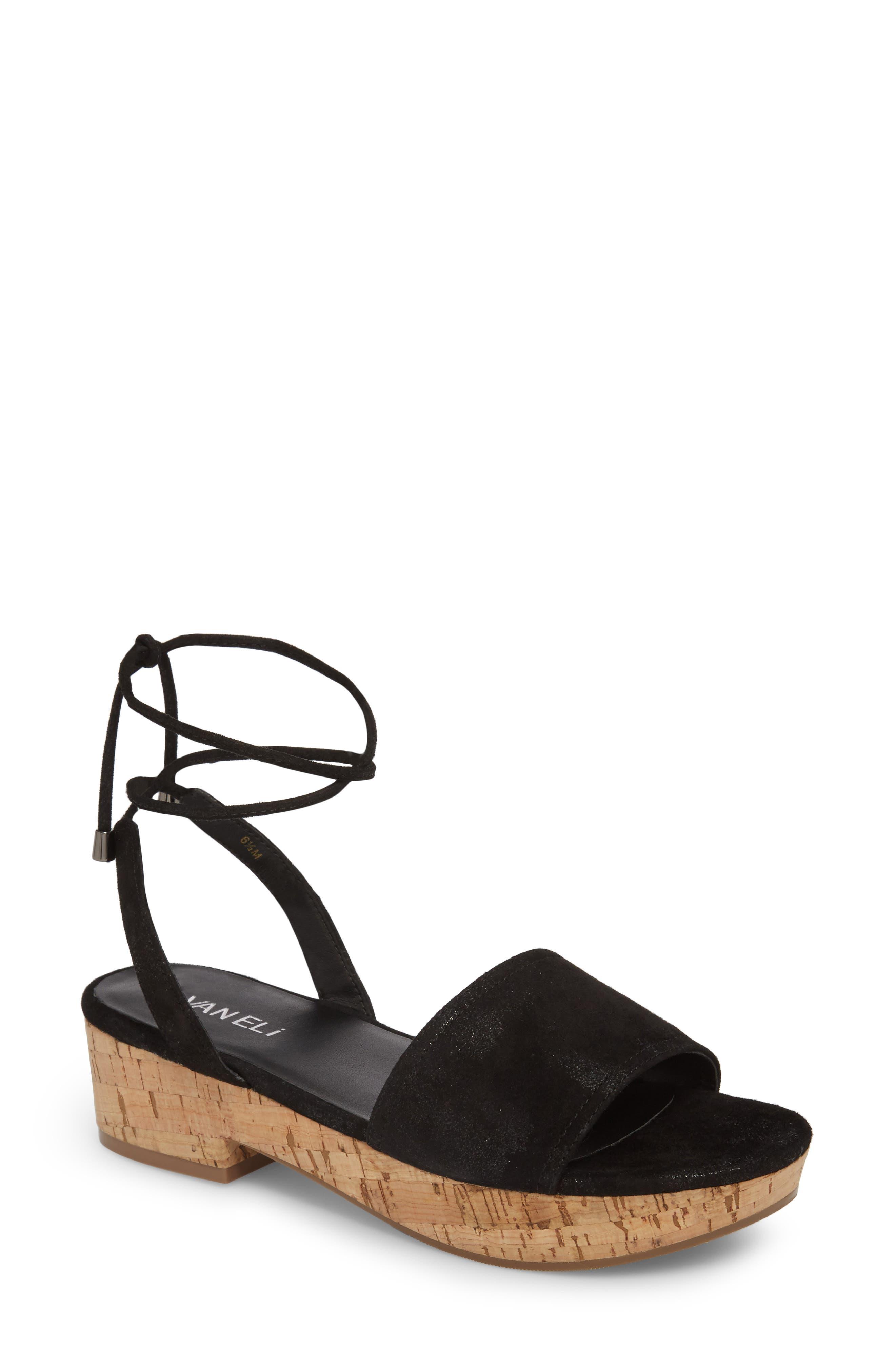 Saba Platform Sandal,                             Main thumbnail 1, color,                             Black Printed Suede
