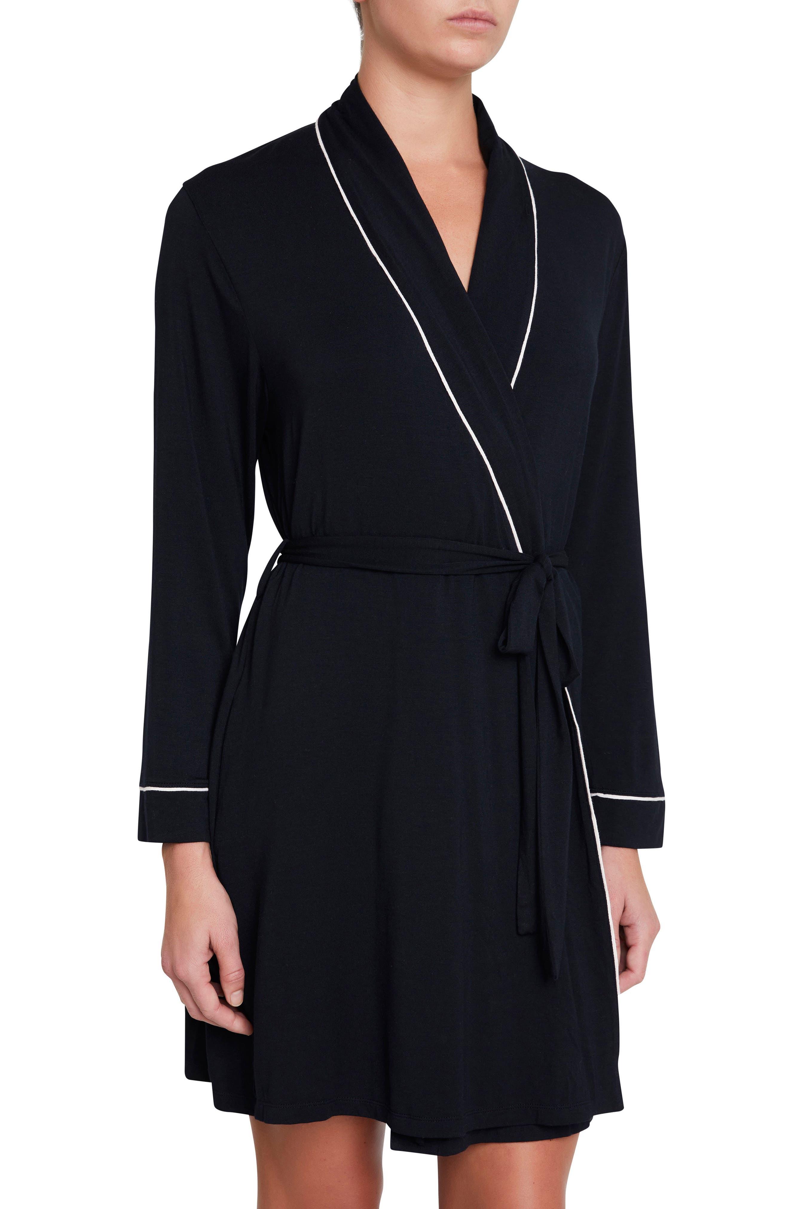 Gisele Classic Robe,                         Main,                         color, Black/ Sorbet