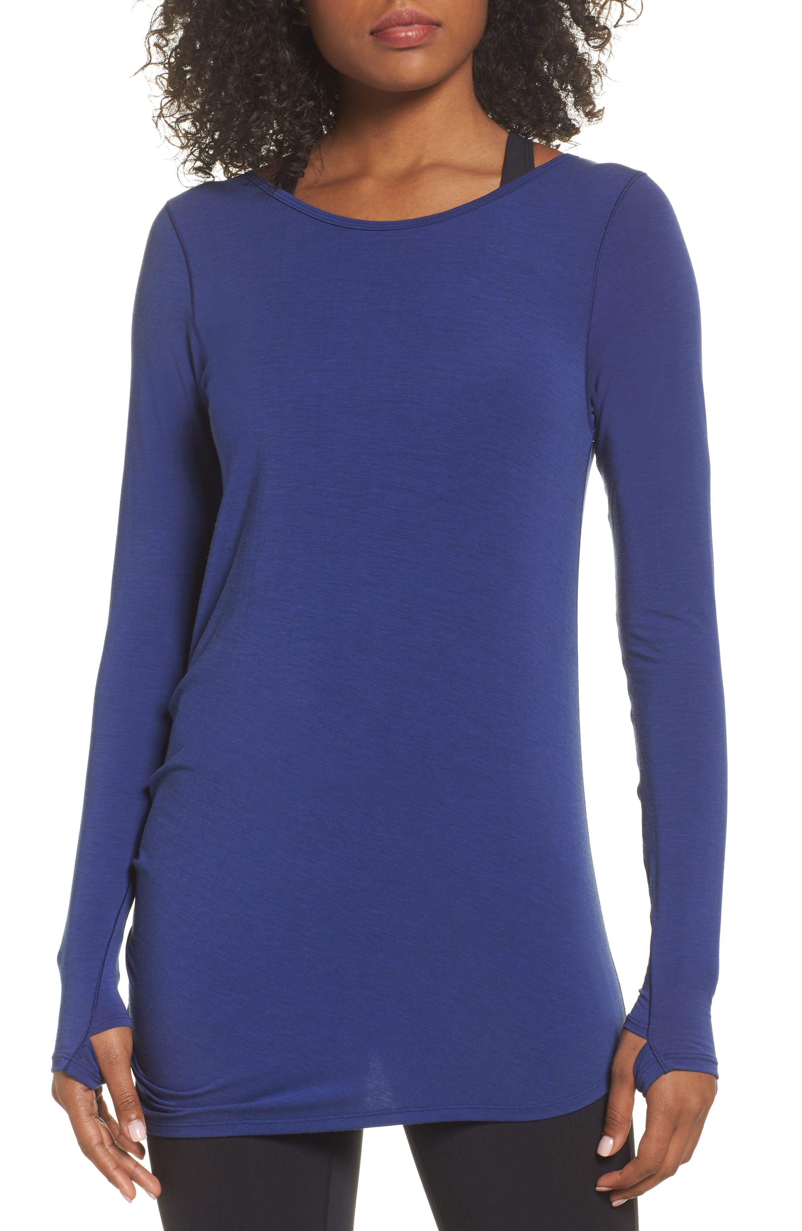 Long Sleeve Layering Tee,                             Main thumbnail 1, color,                             Tempest Heather