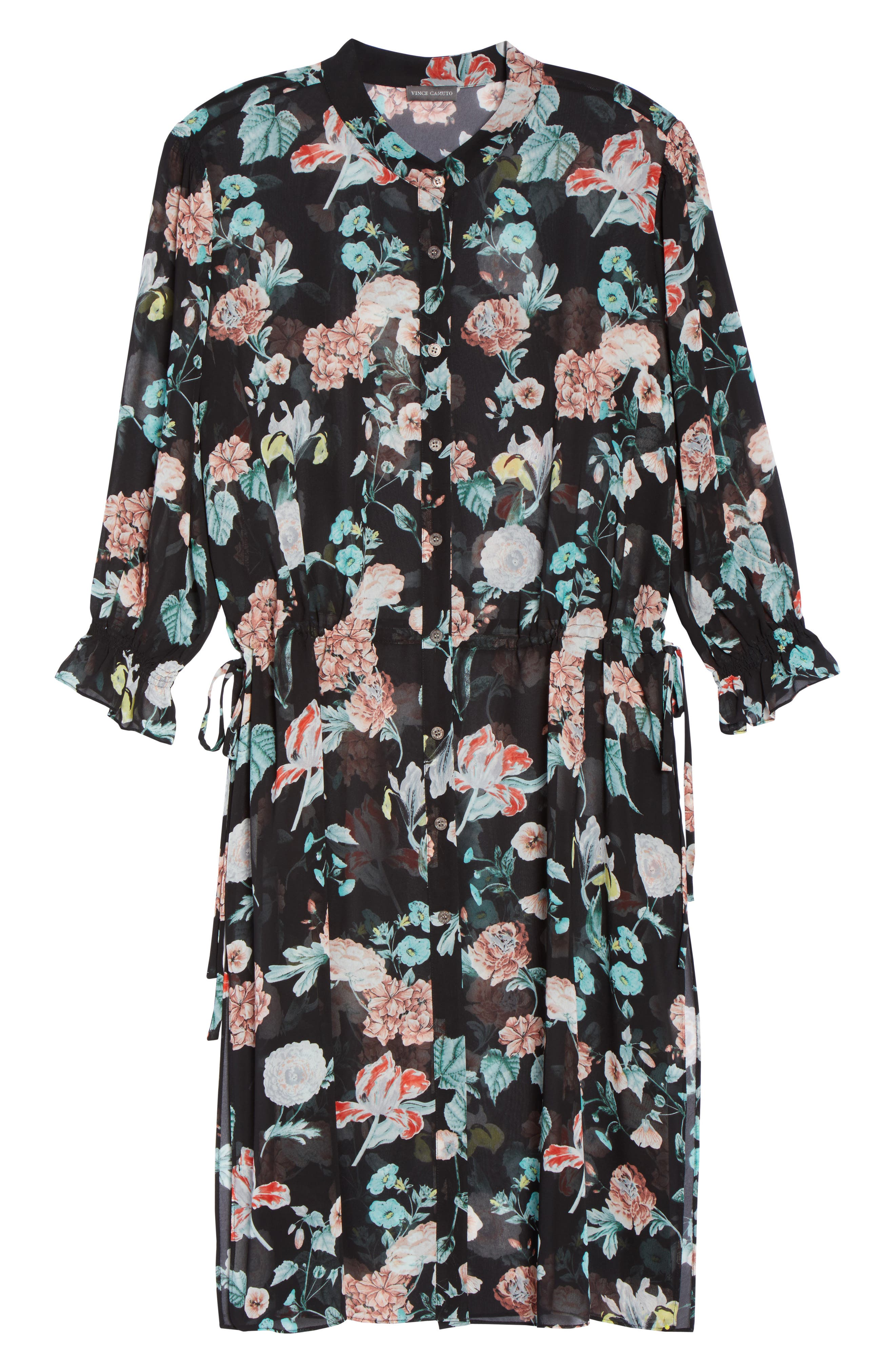Faded Blooms Tunic Dress,                             Alternate thumbnail 6, color,                             Rich Black