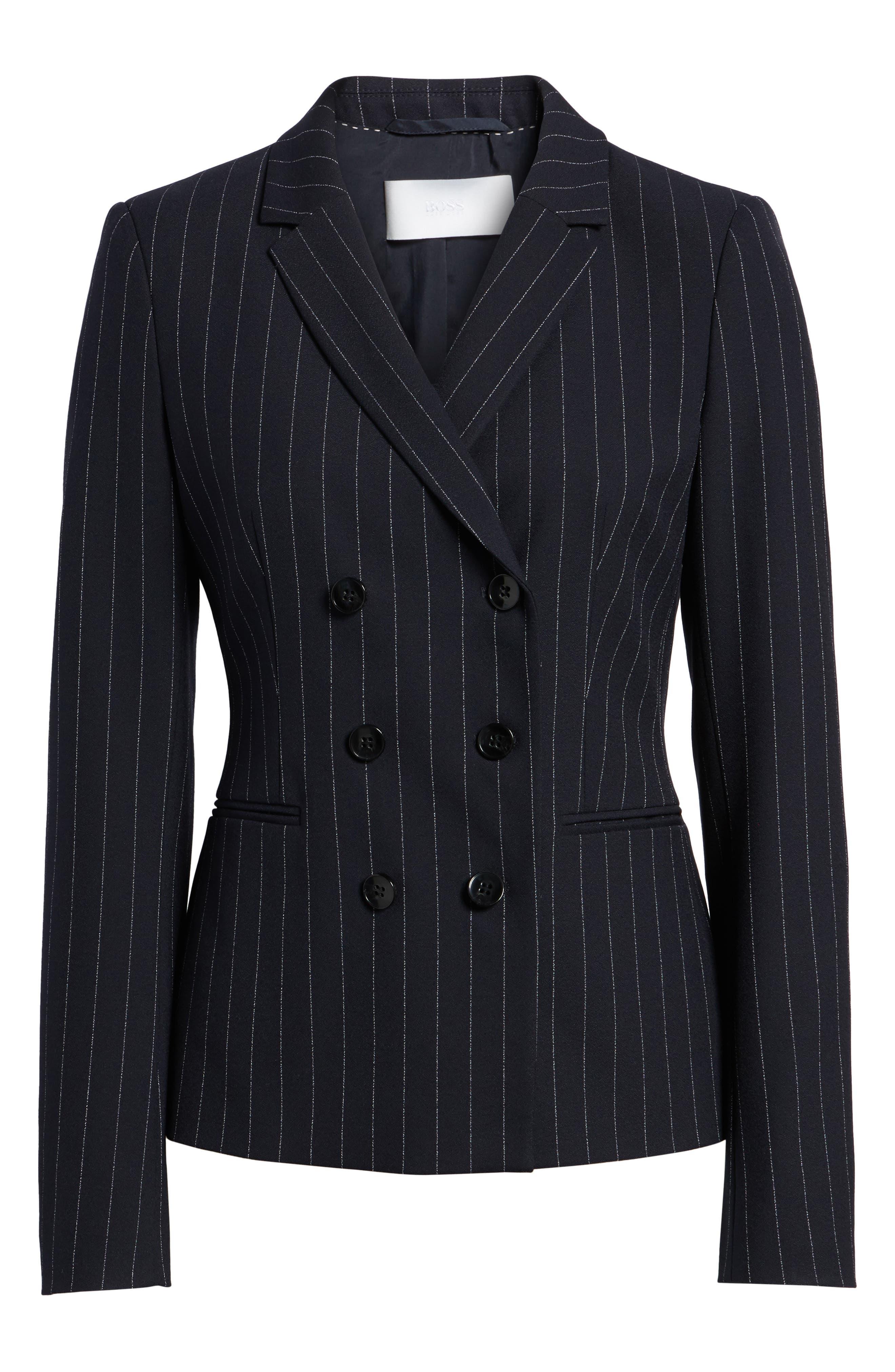Jelaya Double Breasted Suit Jacket,                             Alternate thumbnail 7, color,                             Navy Fantasy