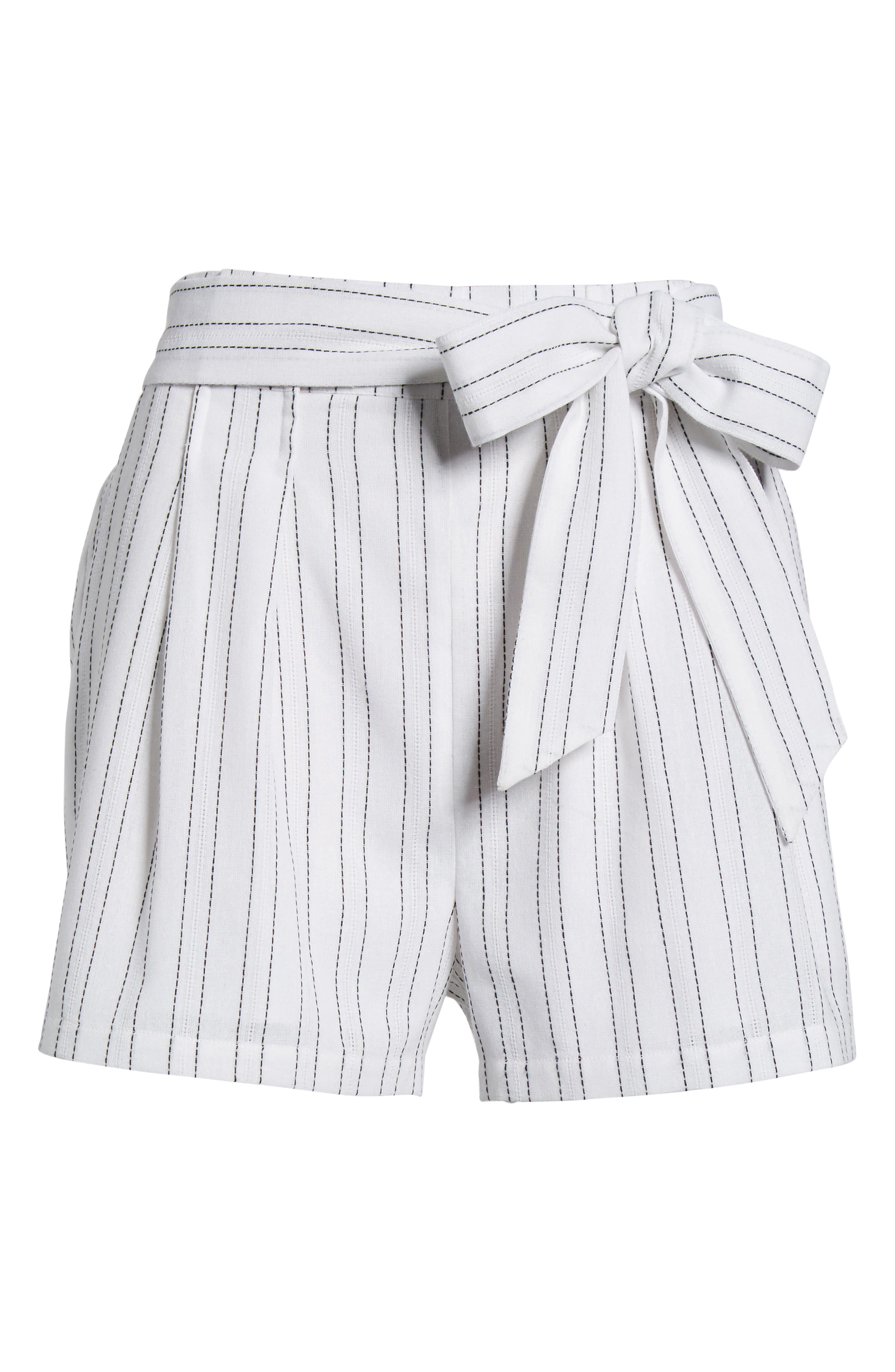 Tie Front Shorts,                             Alternate thumbnail 7, color,                             White/ Black