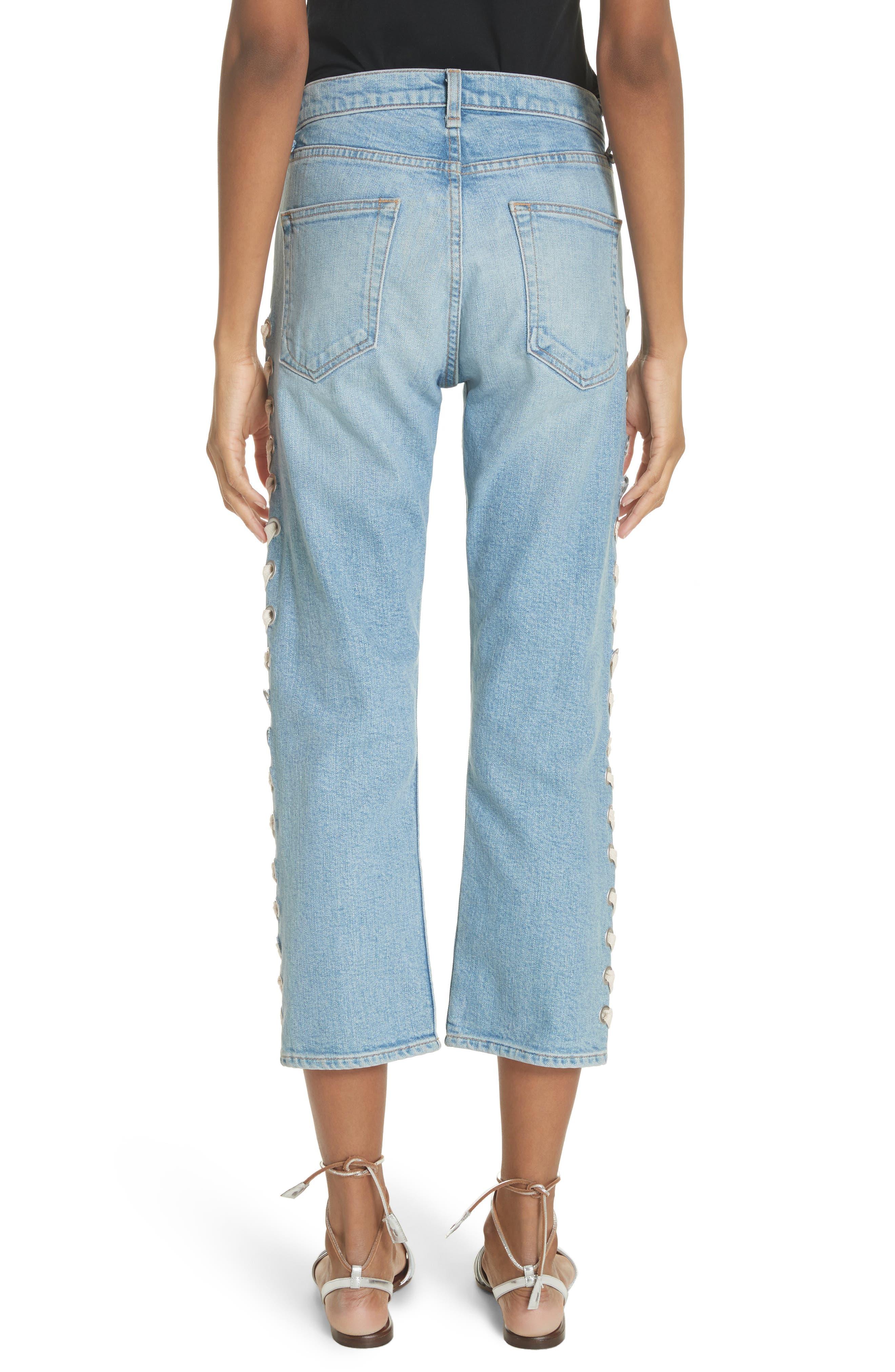 Ines Girlfriend Crop Jeans,                             Alternate thumbnail 2, color,                             Surfside