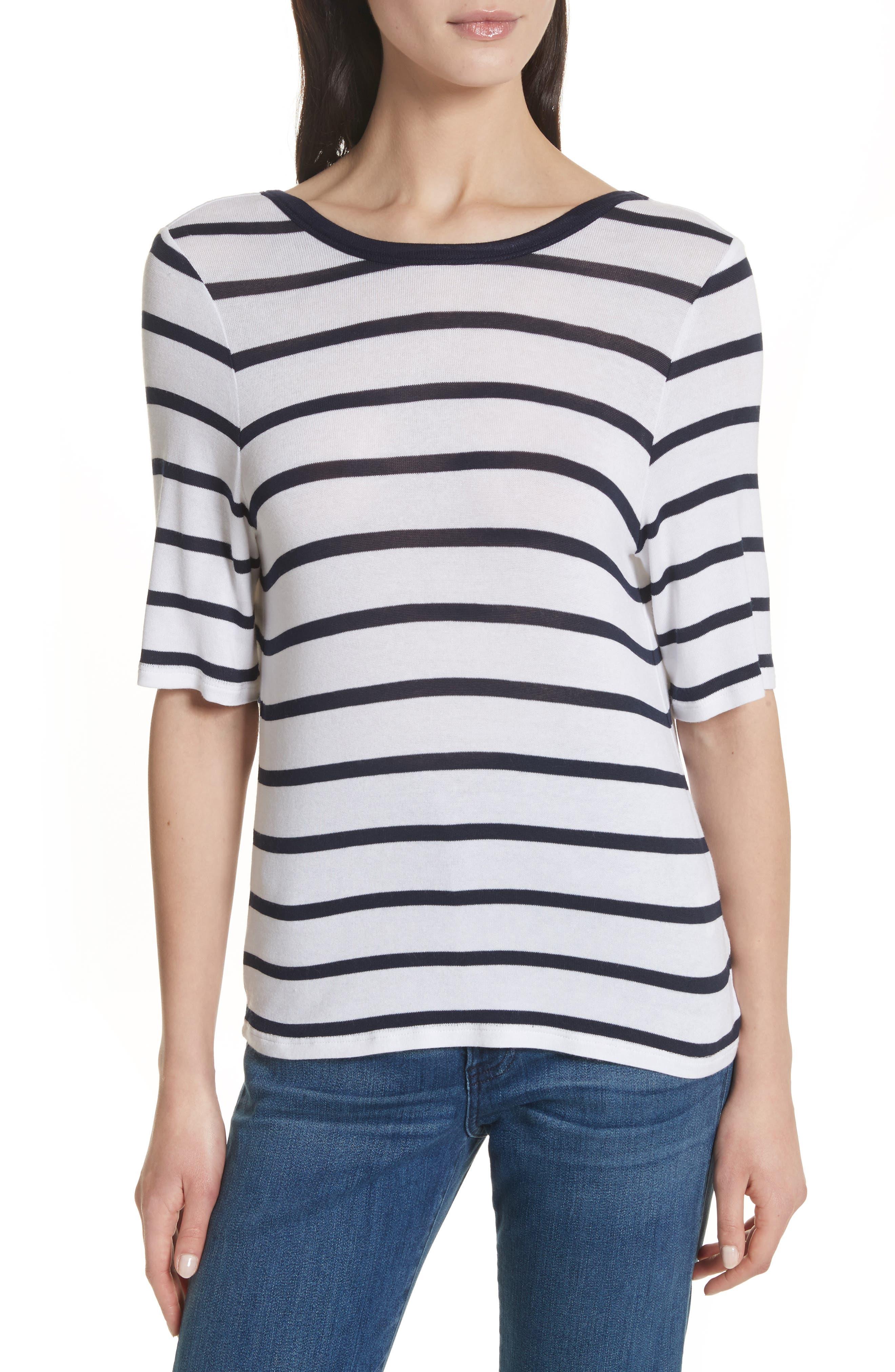 Twist Back Tee,                         Main,                         color, Navy Stripe