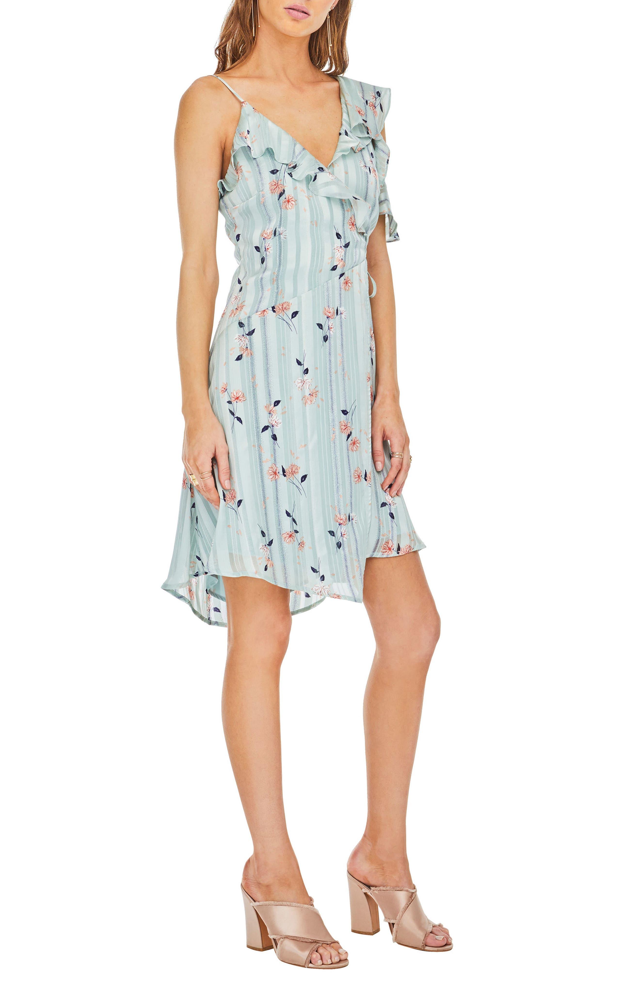 Josie Ruffle Dress,                             Alternate thumbnail 3, color,                             Mint Satin Floral