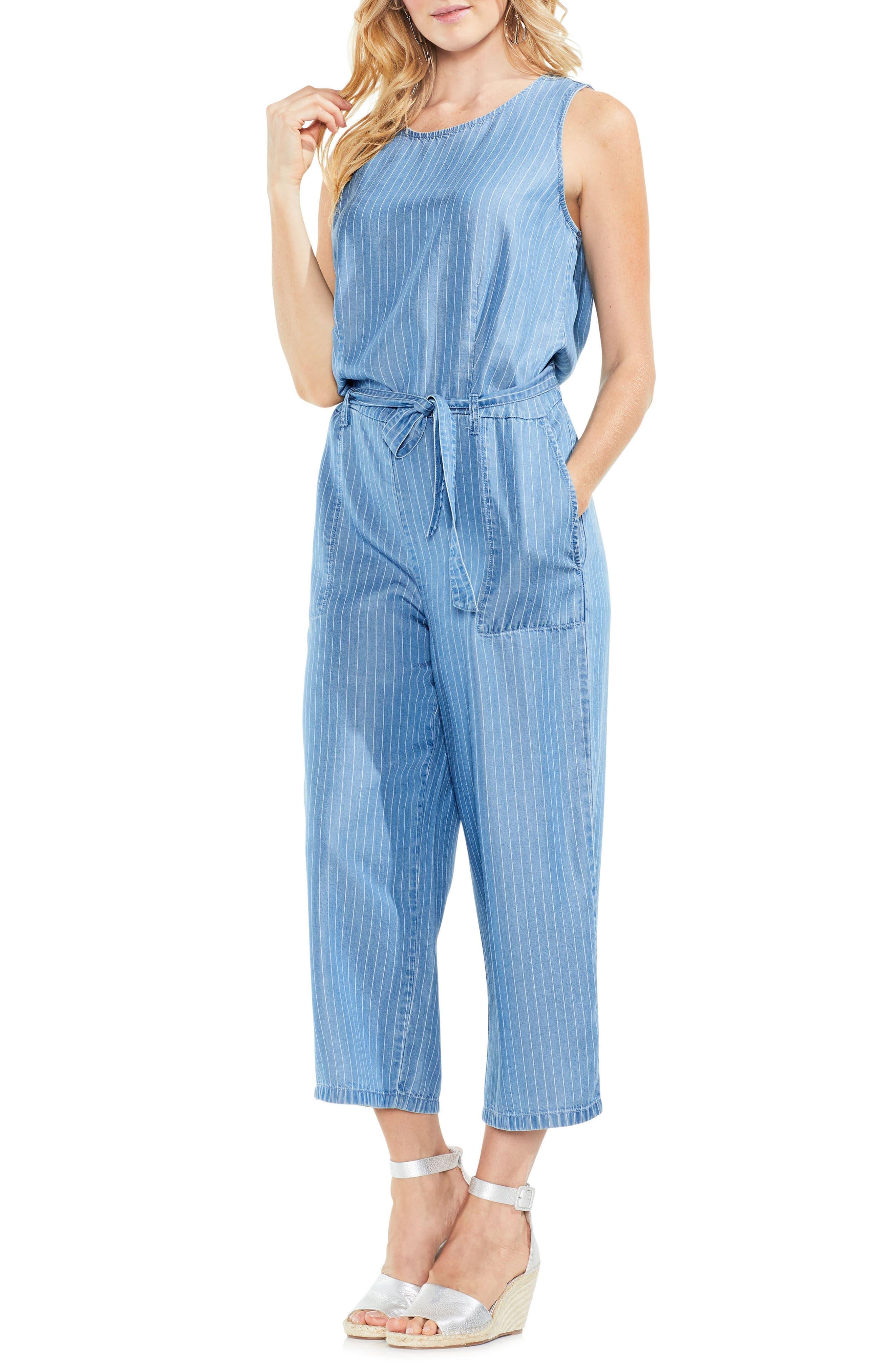 Sleeveless Stripe Belted Jumpsuit,                         Main,                         color, Indigo Stone