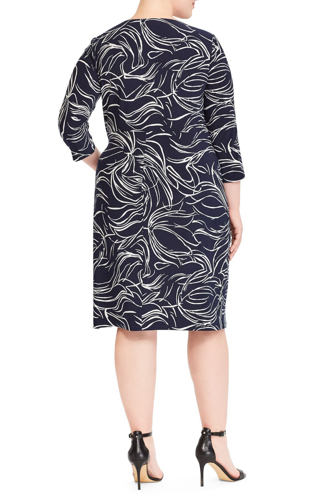 Print Jersey Dress,                             Alternate thumbnail 2, color,                             Lighthouse Navy-Colonial Cream