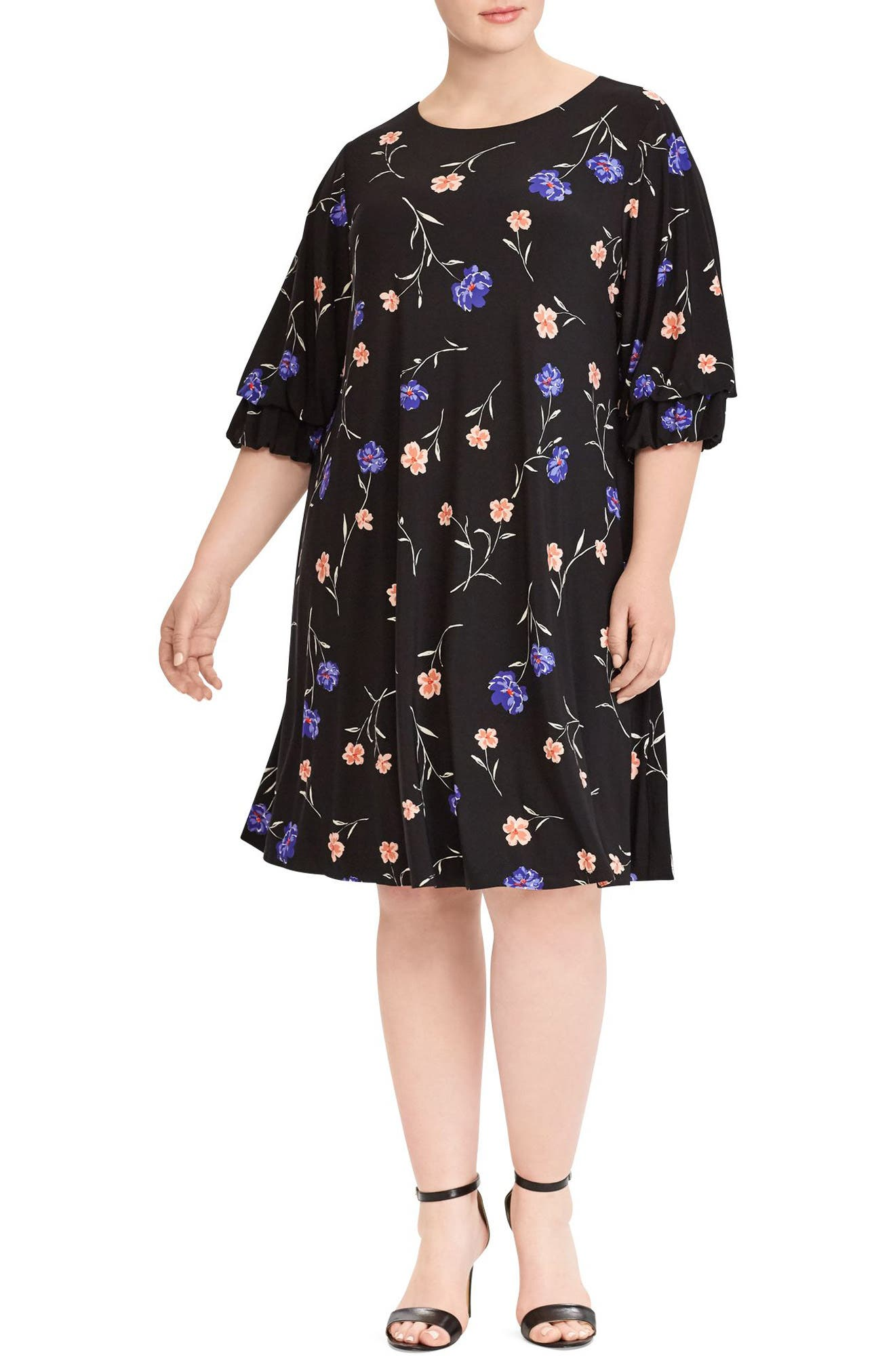 Ruffle Sleeve Floral Print Dress,                             Main thumbnail 1, color,                             Black-Blue-Multi