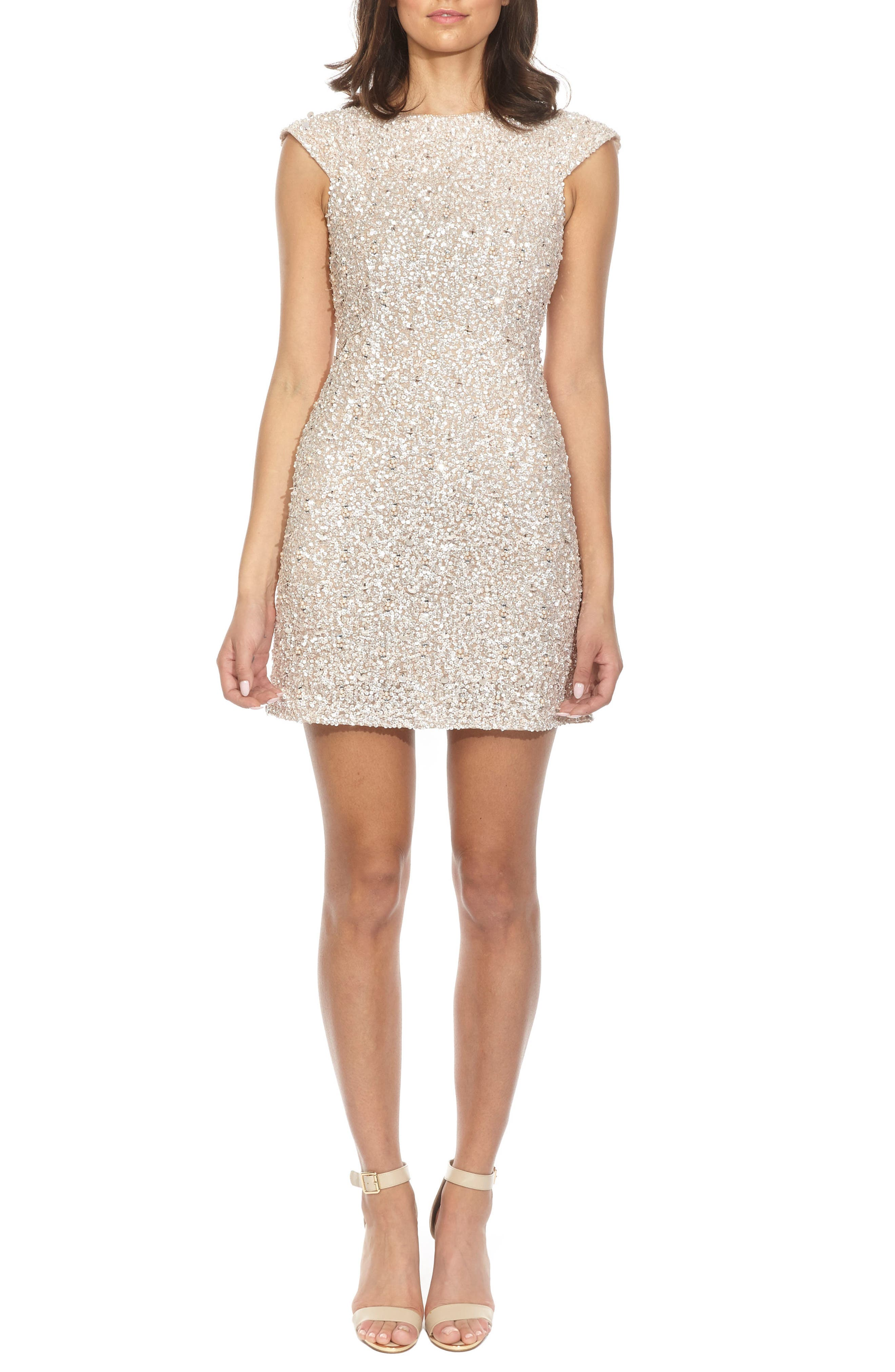 Pica Sequin Minidress,                             Main thumbnail 1, color,                             Nude