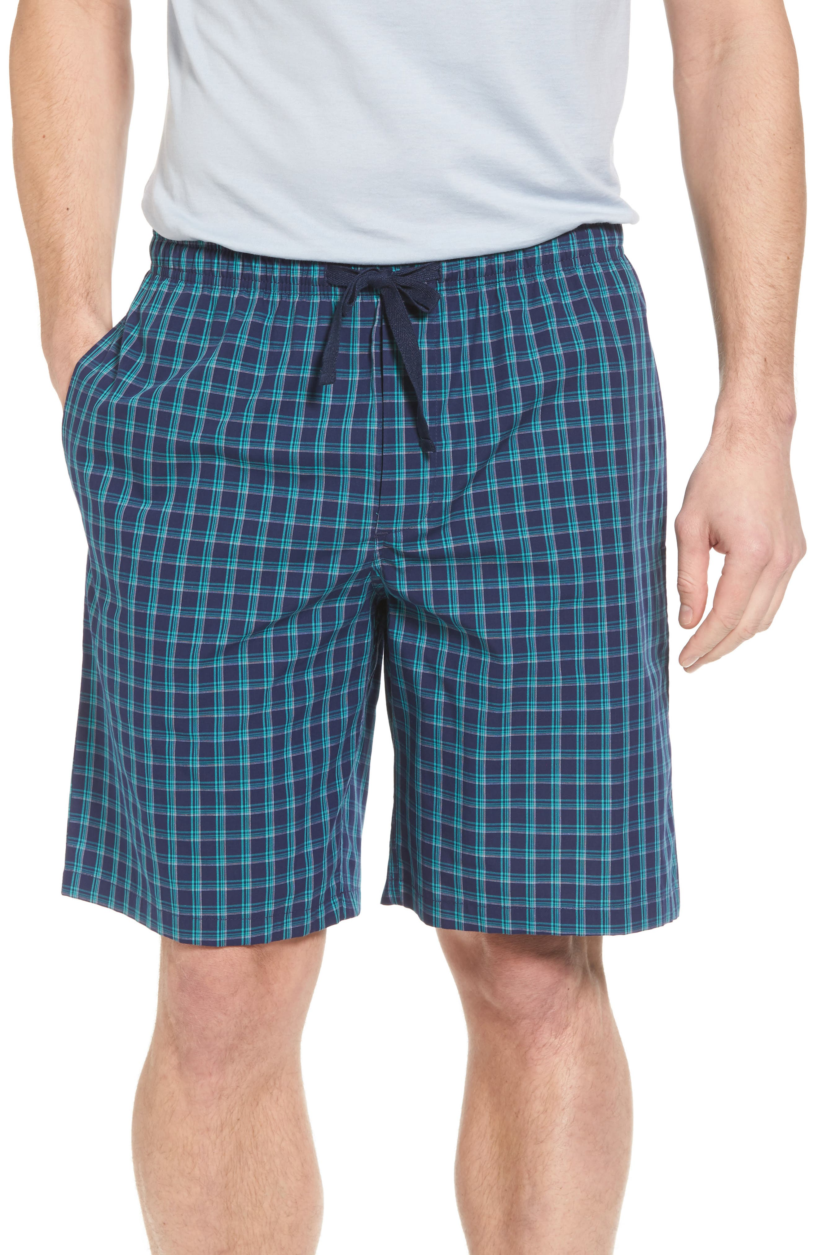 Poplin Lounge Shorts,                         Main,                         color, Navy Peacoat - Teal Plaid