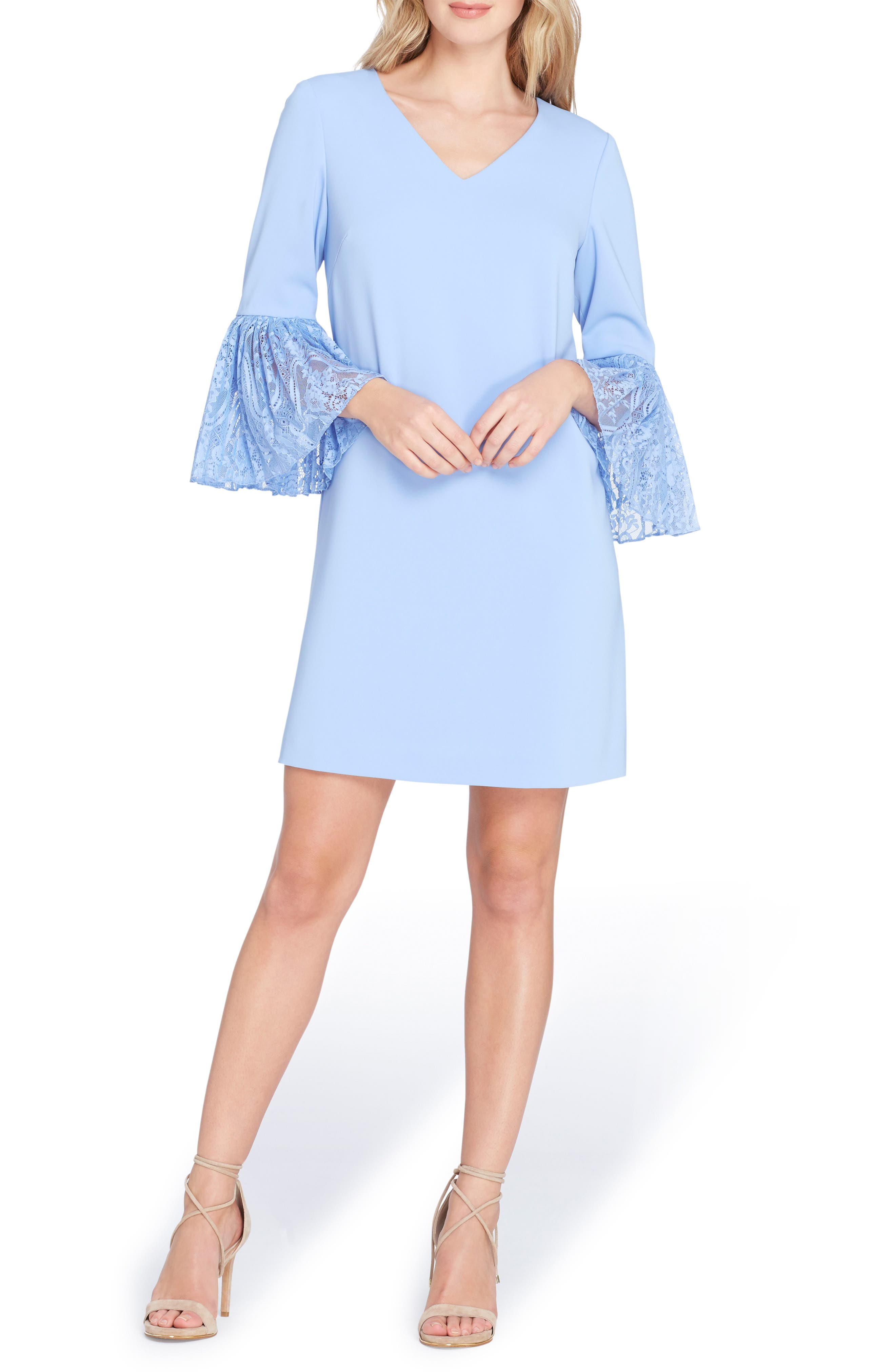 Bell Sleeve Shift Dress,                             Main thumbnail 1, color,                             Periwinkle