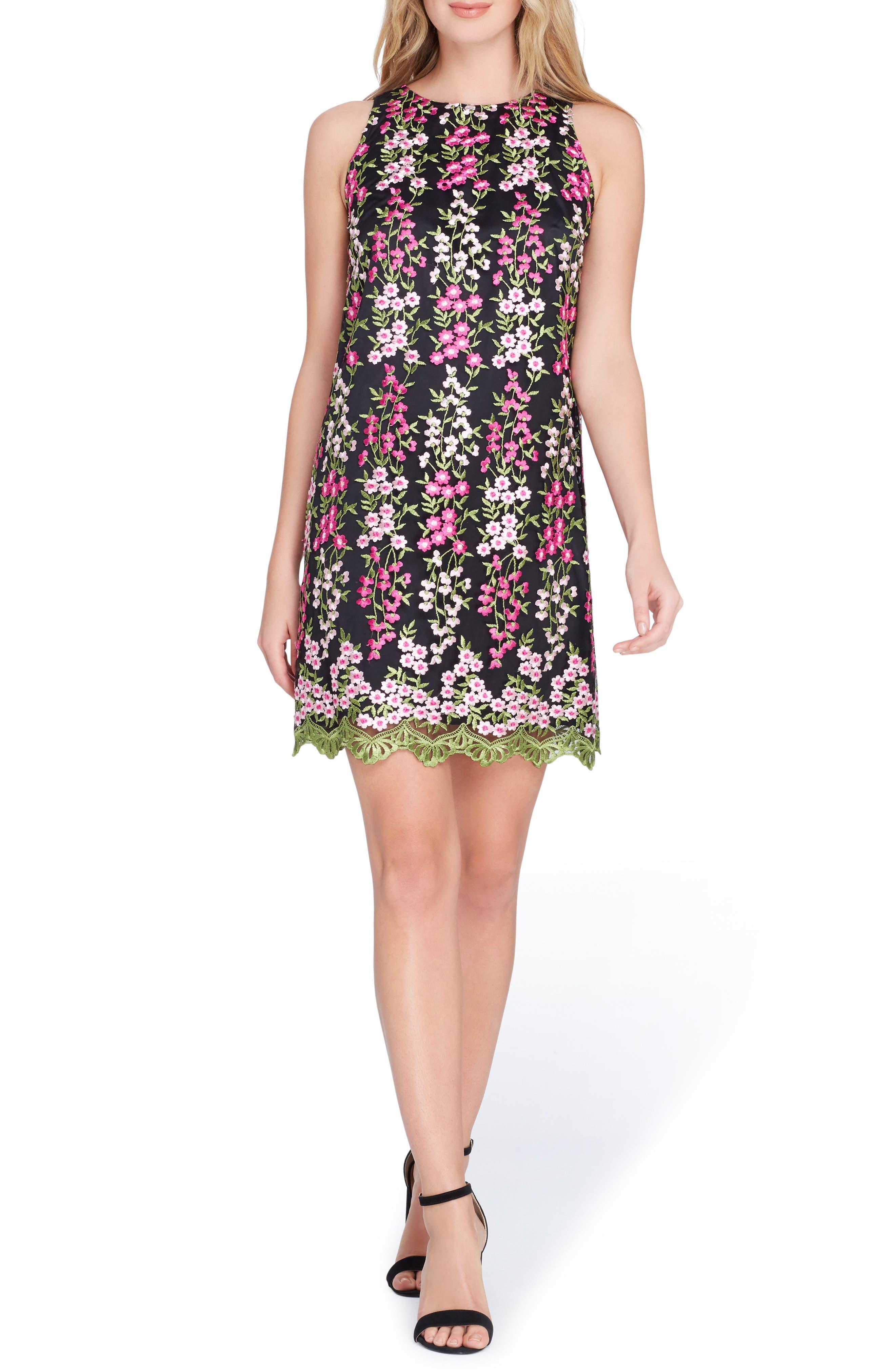 Embroidered Floral Shift Dress,                         Main,                         color, Black/ Magenta/ Blush