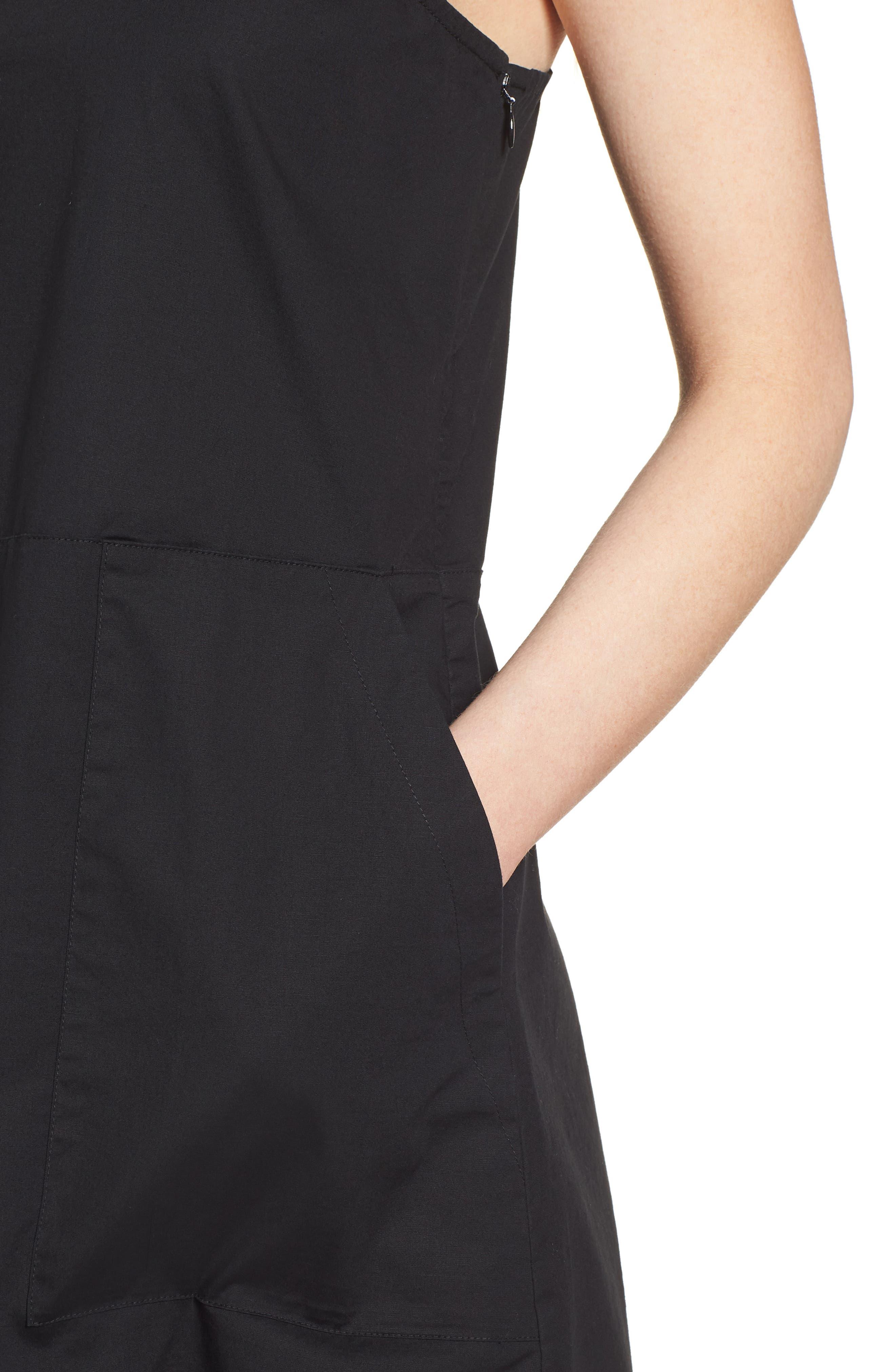 Stretch Organic Cotton Tank Dress,                             Alternate thumbnail 4, color,                             Black