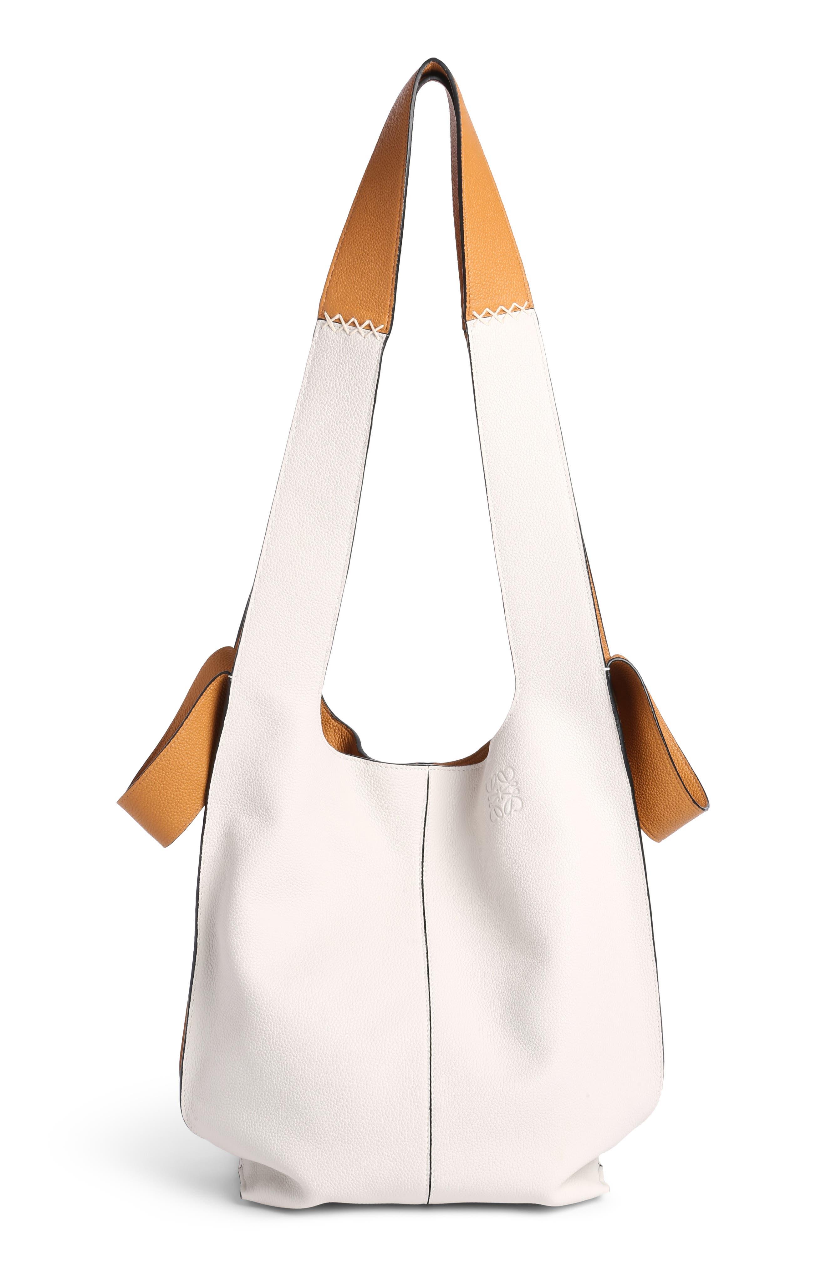 Leather Hobo Tote Bag,                             Main thumbnail 1, color,                             Soft White/ Amber
