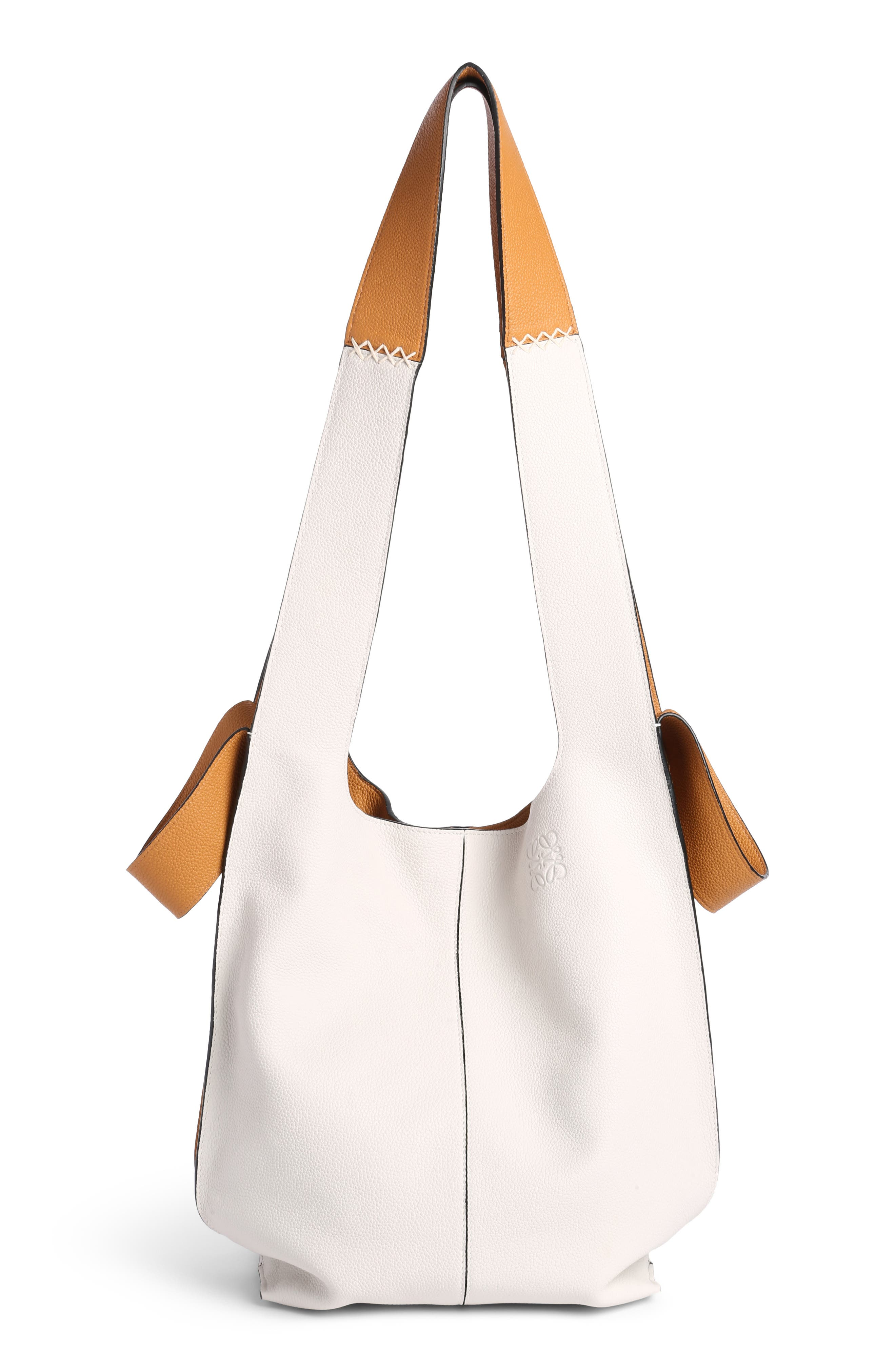 Leather Hobo Tote Bag,                         Main,                         color, Soft White/ Amber