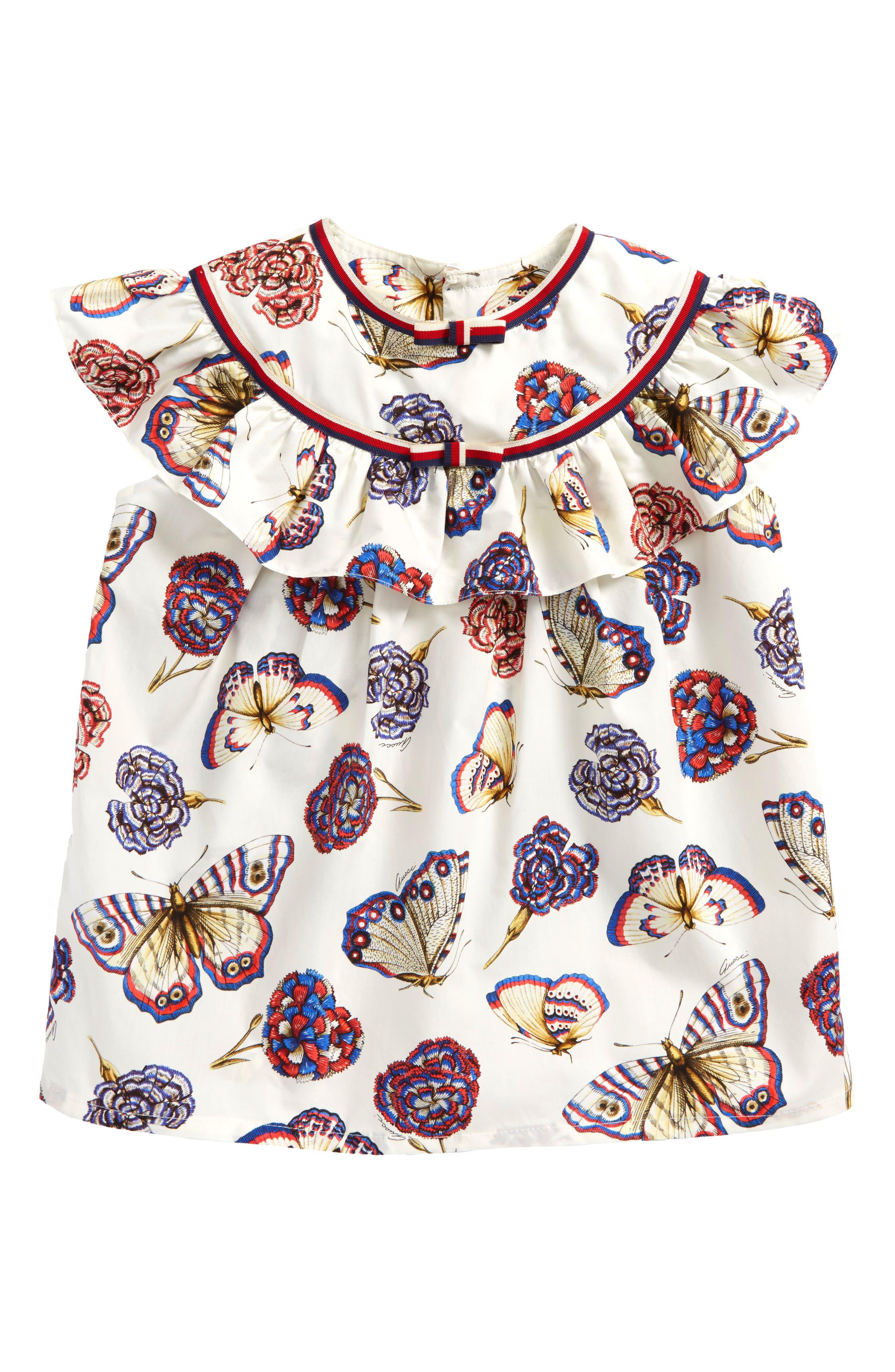 Butterflies & Flowers Print Blouse,                             Main thumbnail 1, color,                             Fancy White