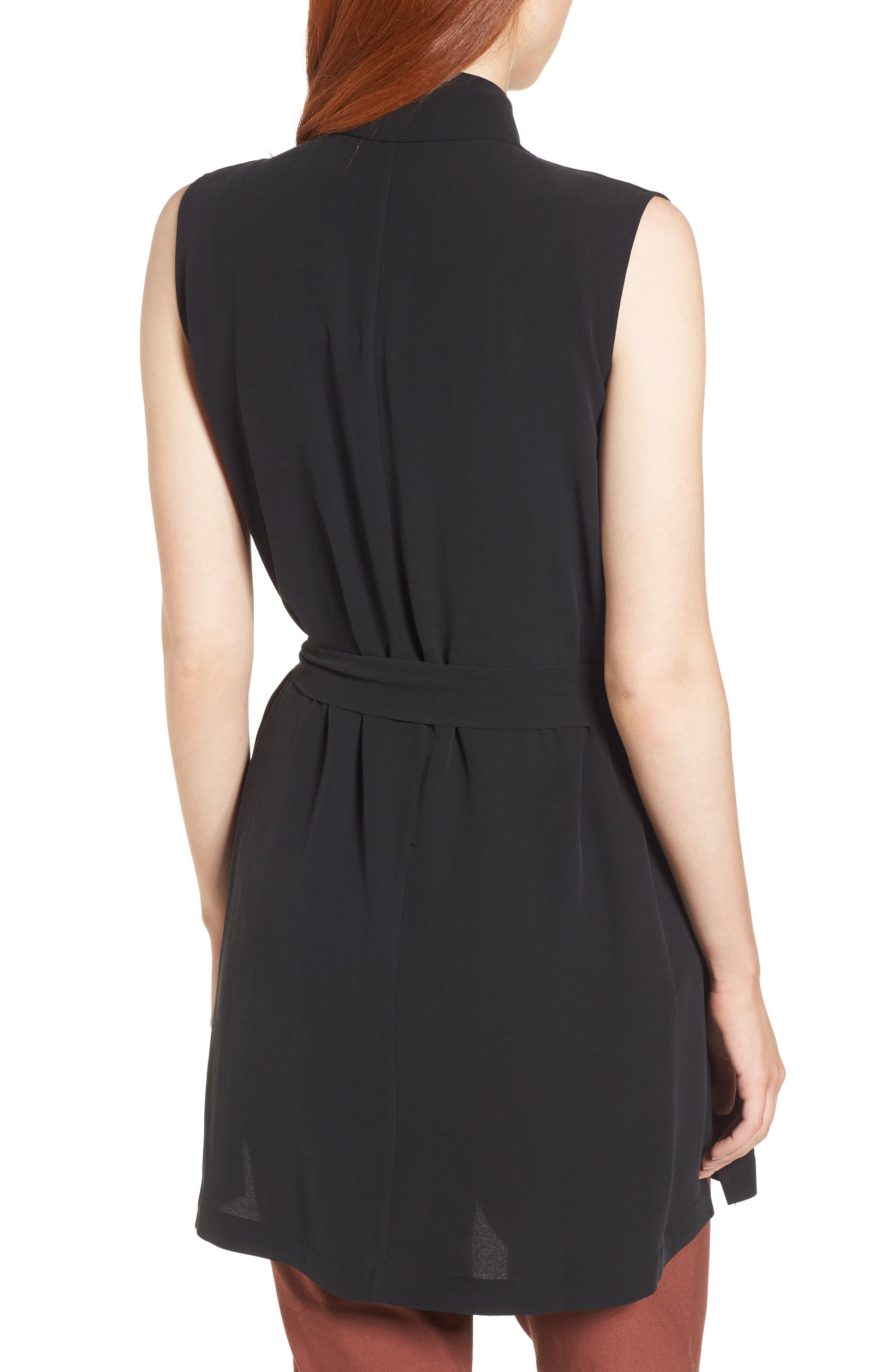 Silk Georgette Crepe Long Vest,                             Alternate thumbnail 3, color,                             Black